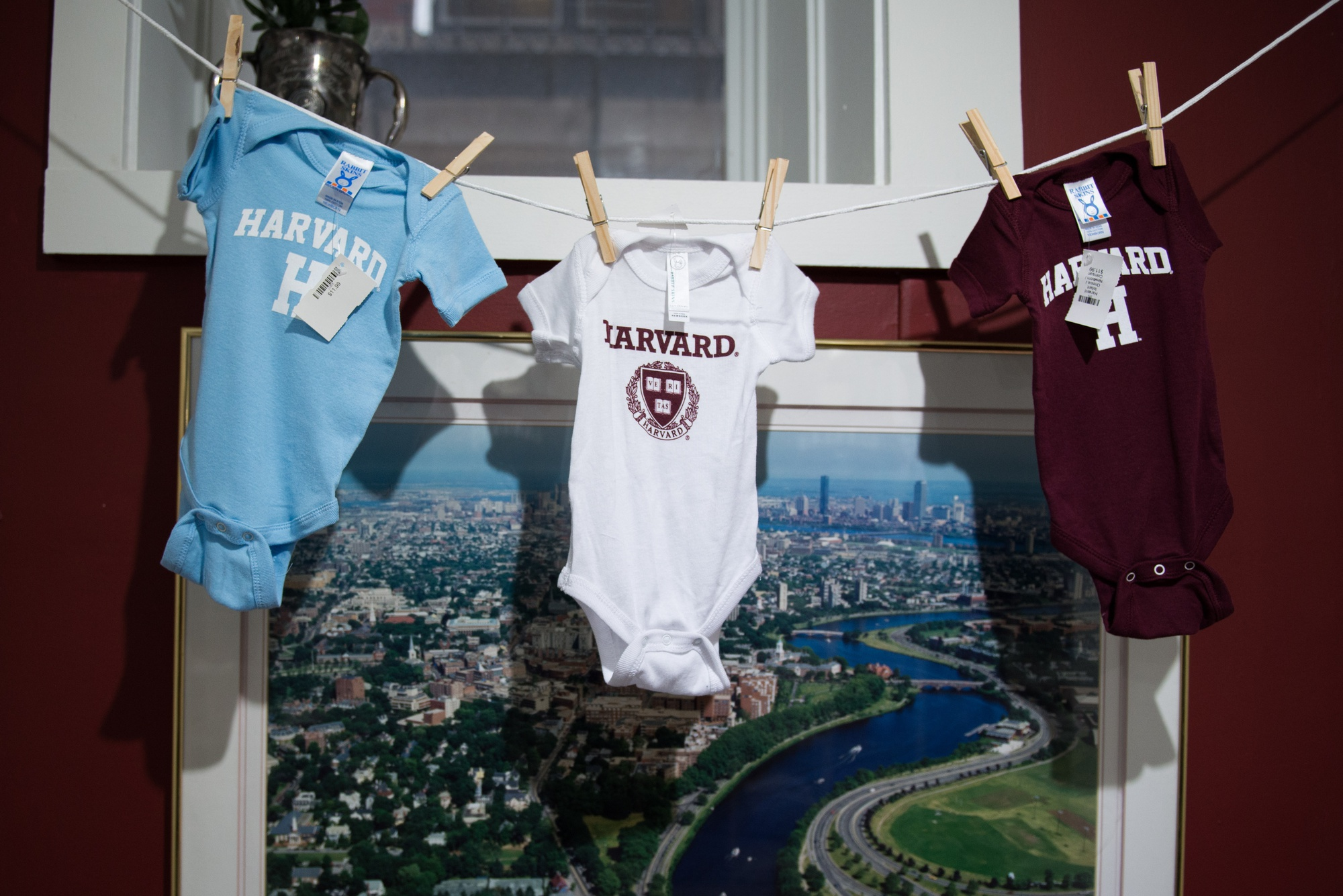 Options for baby onesies hang in front of a photograph of Boston and the Charles River in the Harvard Shop on Mt. Auburn Street.