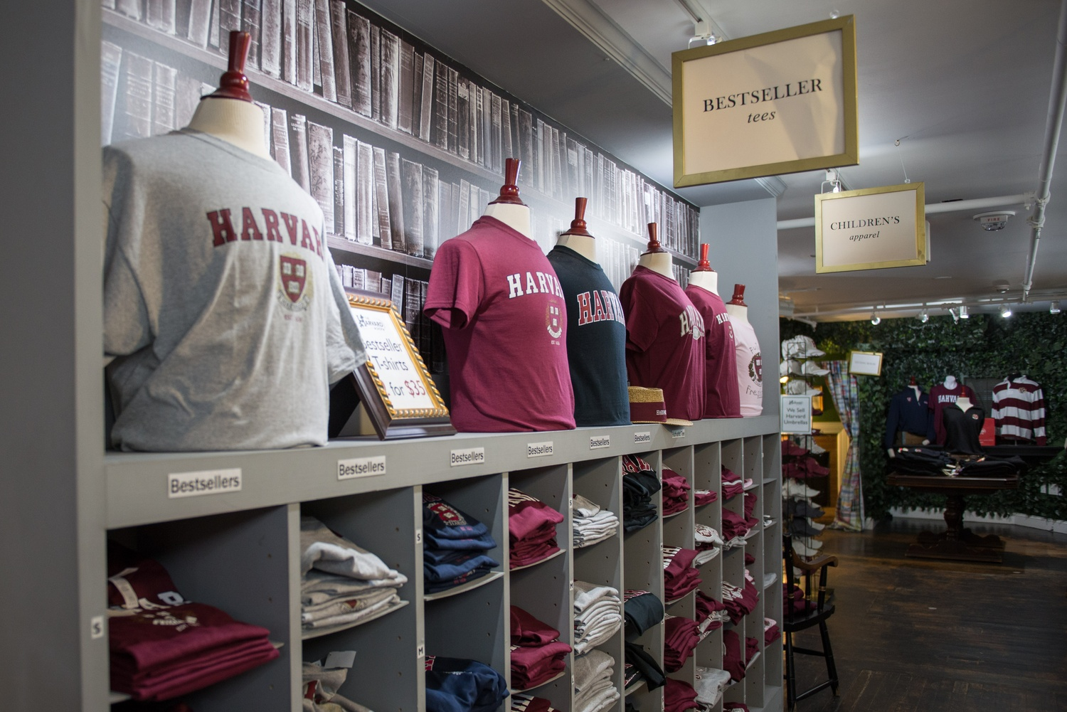 The Harvard Shop on Mt. Auburn Street sells a variety of Harvard memorabilia, from popular t-shirts to newer items like teddy bears and phone cases. The Shop moved in 2013 to its current location across from Lowell House.