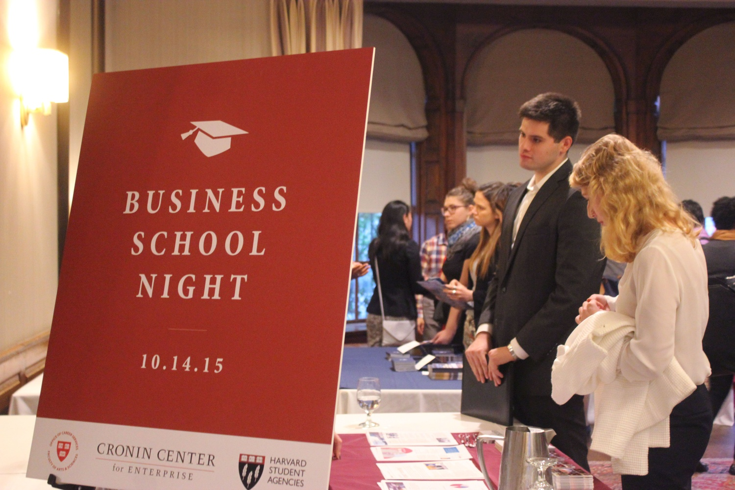 Students interested in applying to business school converse with recruiters from various universities at the Cronin Center and HSA's Business School Night.