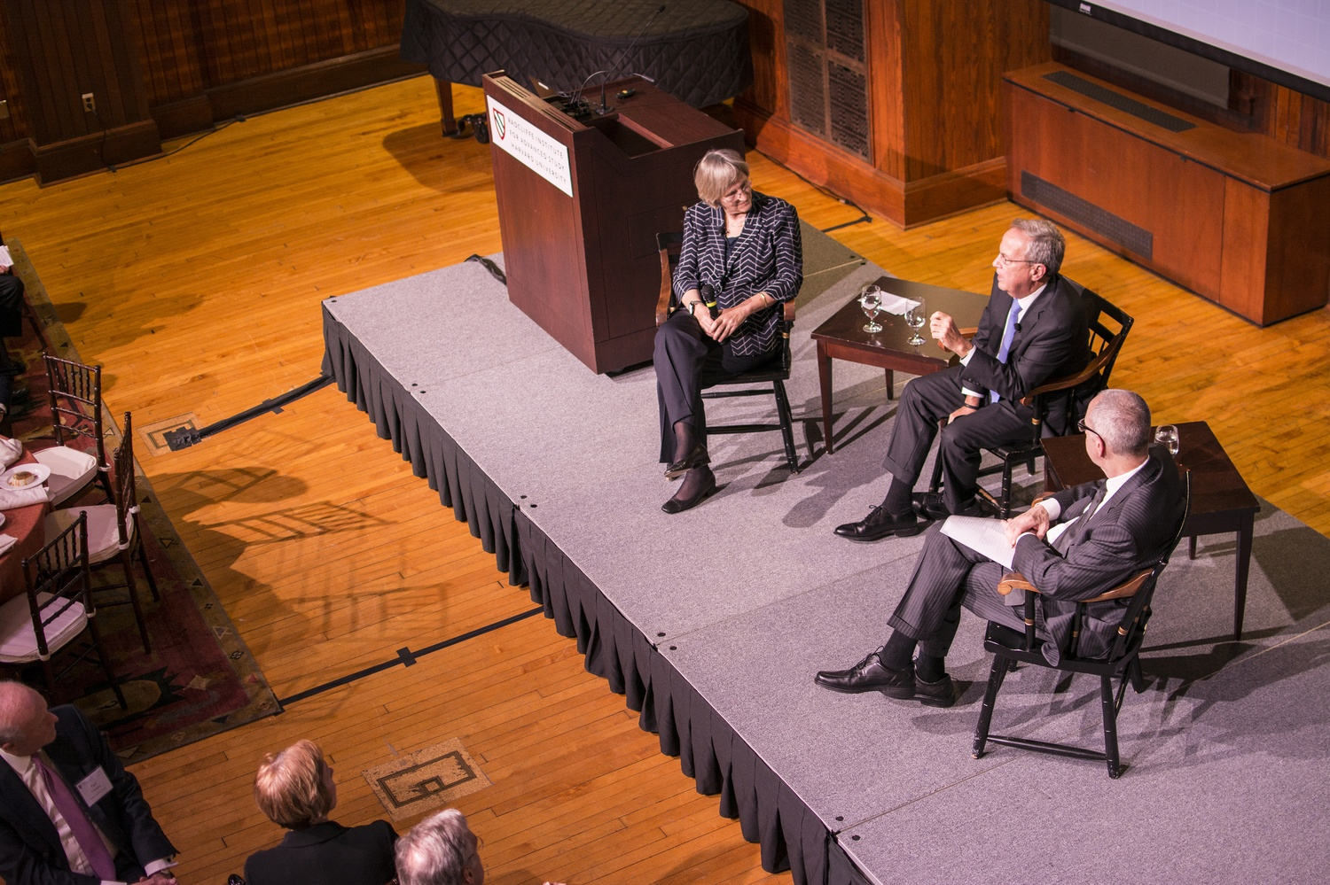 University President Drew G. Faust leads a discussion on the future of university education with Richard C. Levin and David J. Skorton, the former presidents of Yale and Cornell, respectively.