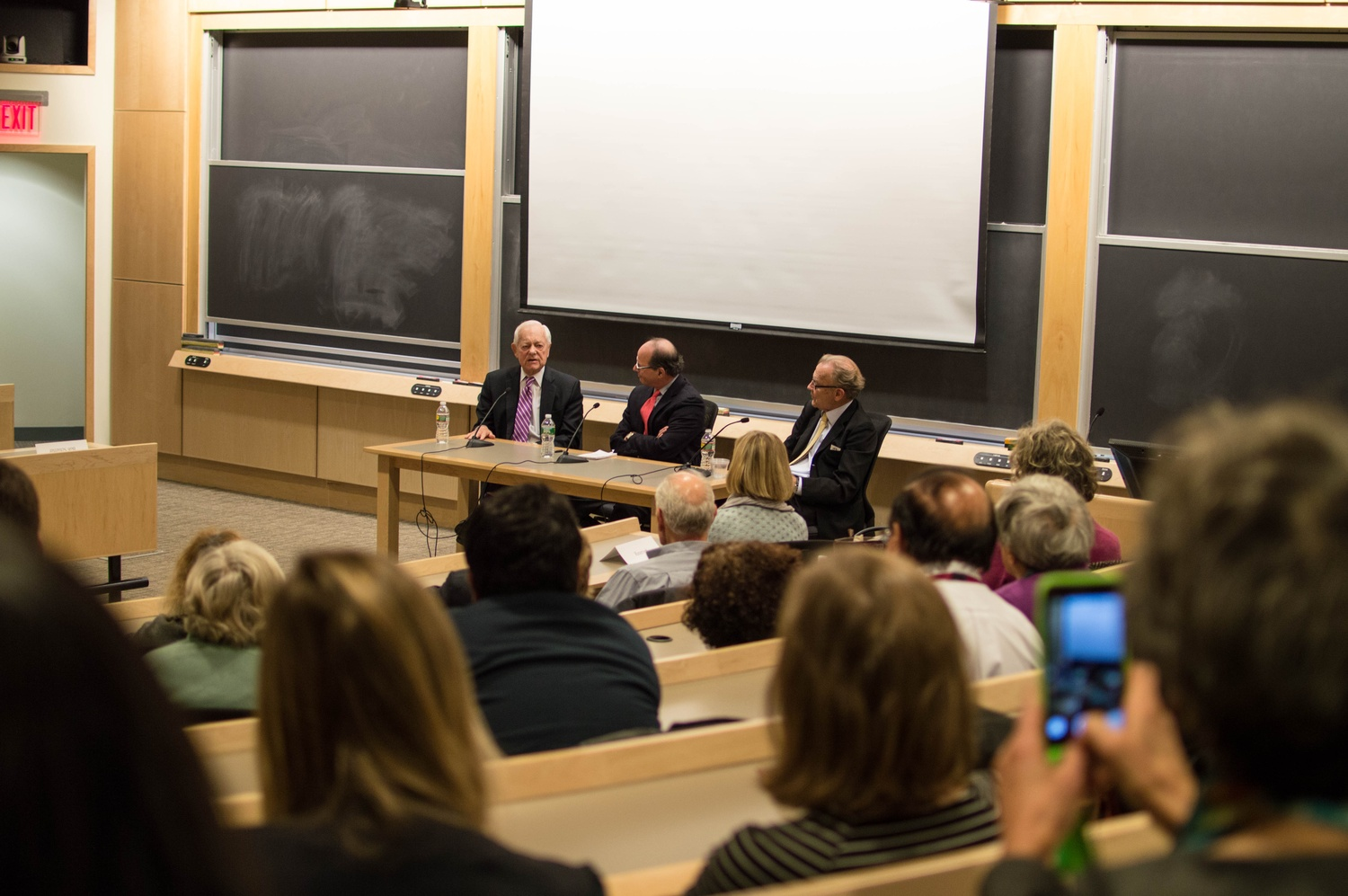 "Bob Schieffer, left, a former CBS News anchor, discusses journalism during the Vietnam War with Thomas D. Herman and Thomas E. Patterson following a screening of ""Dateline - Saigon"" at the Kennedy School."
