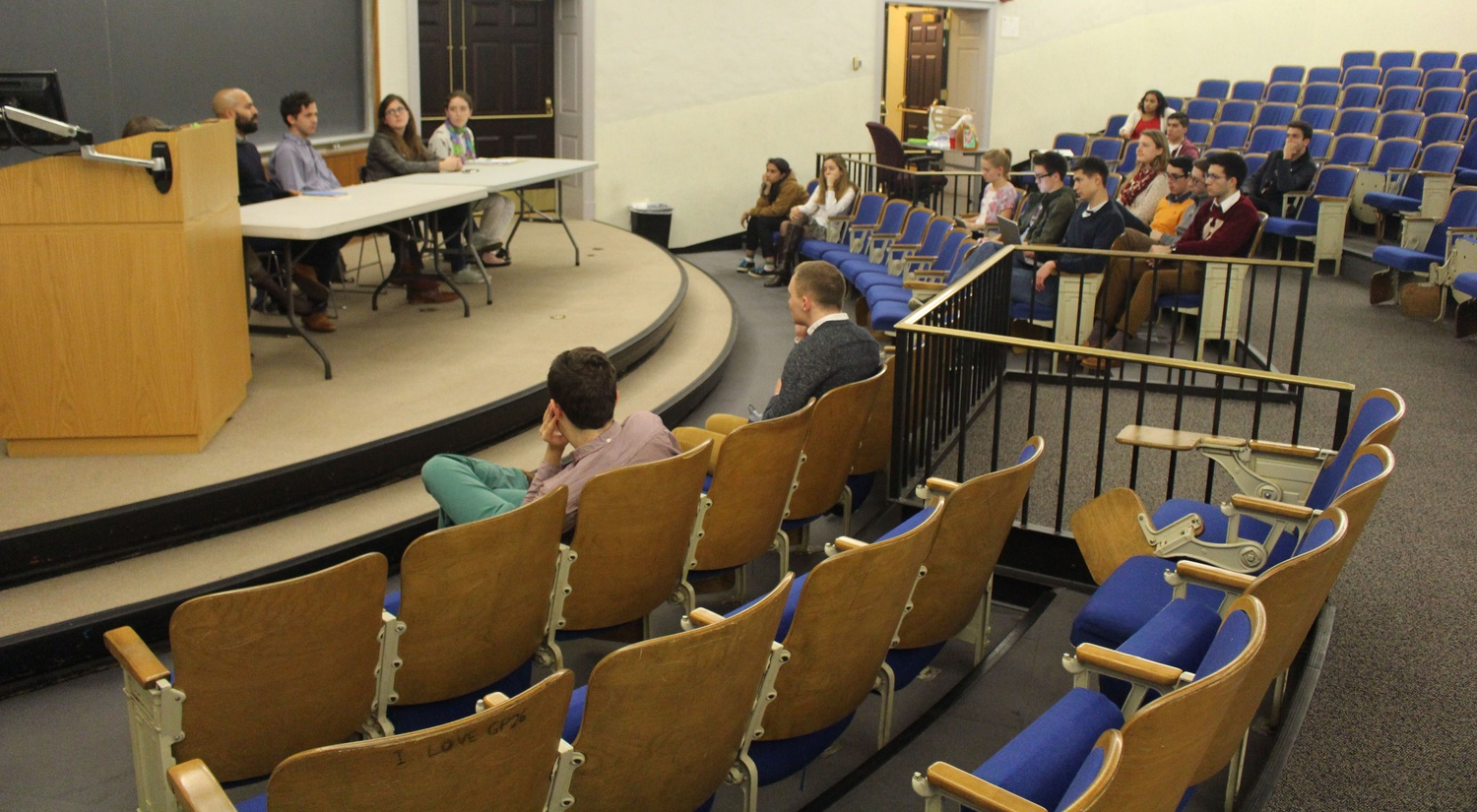 Students engage in a career panel about jobs in the humanities on Oct. 15. The consisted of five people: a professor, a postdoc, a graduate student, and two undergraduates.