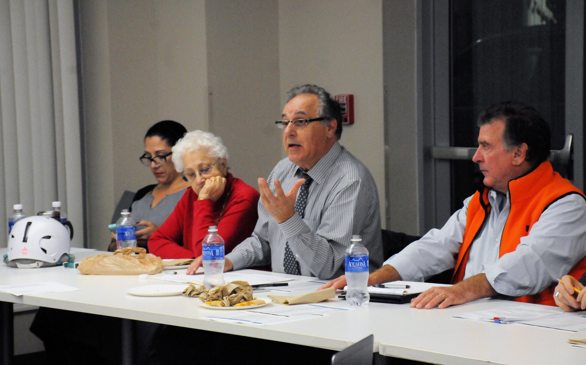 John A. Bruno, Interim Chair of the Harvard-Allston Task Force, leads a two-hour discussion on the University's development in Allston on Wednesday evening.