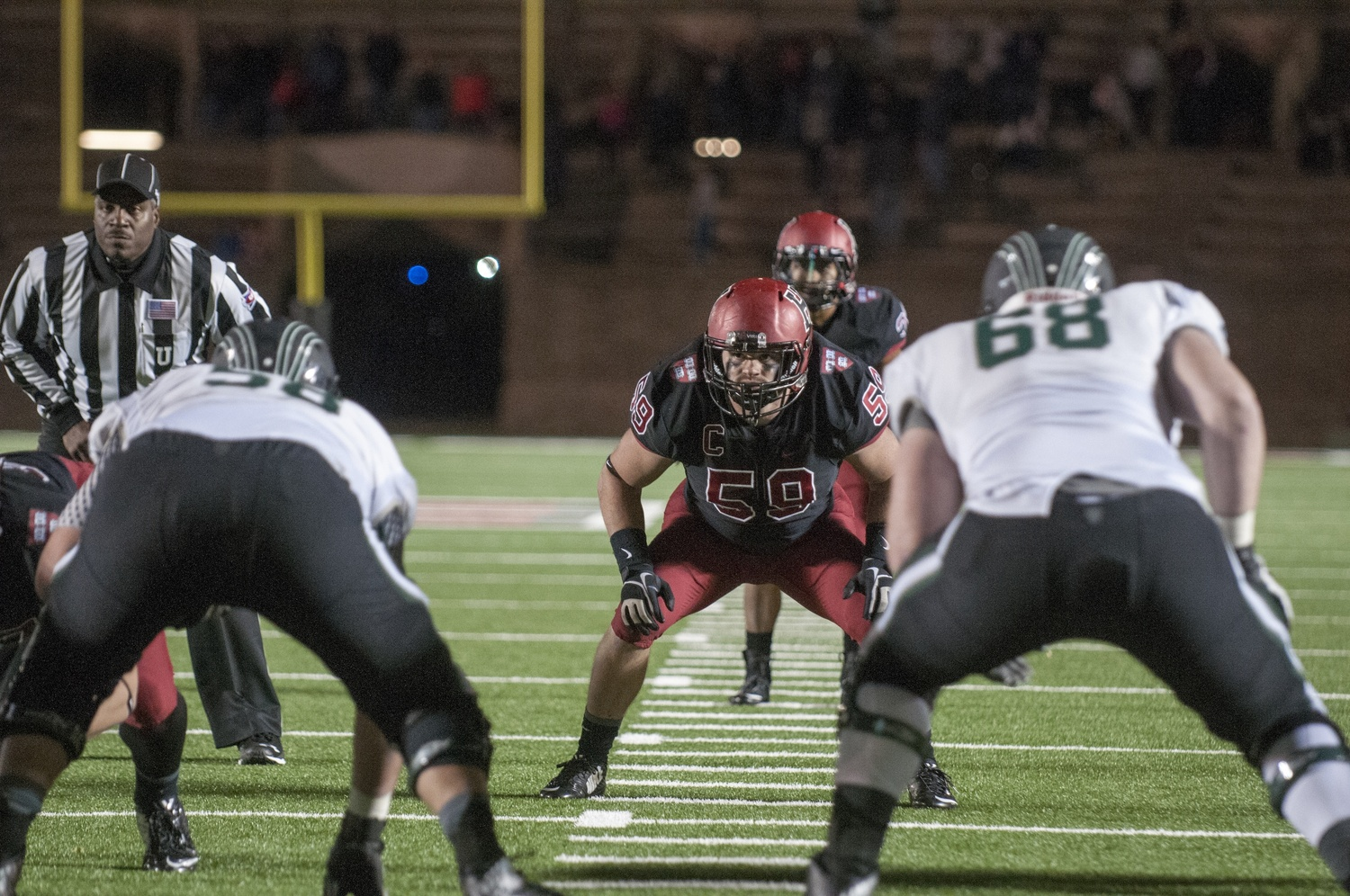Captain Matt Koran's fumble recovery with under 3:00 remaining enabled the Crimson to take its first lead of the game in the final minute.