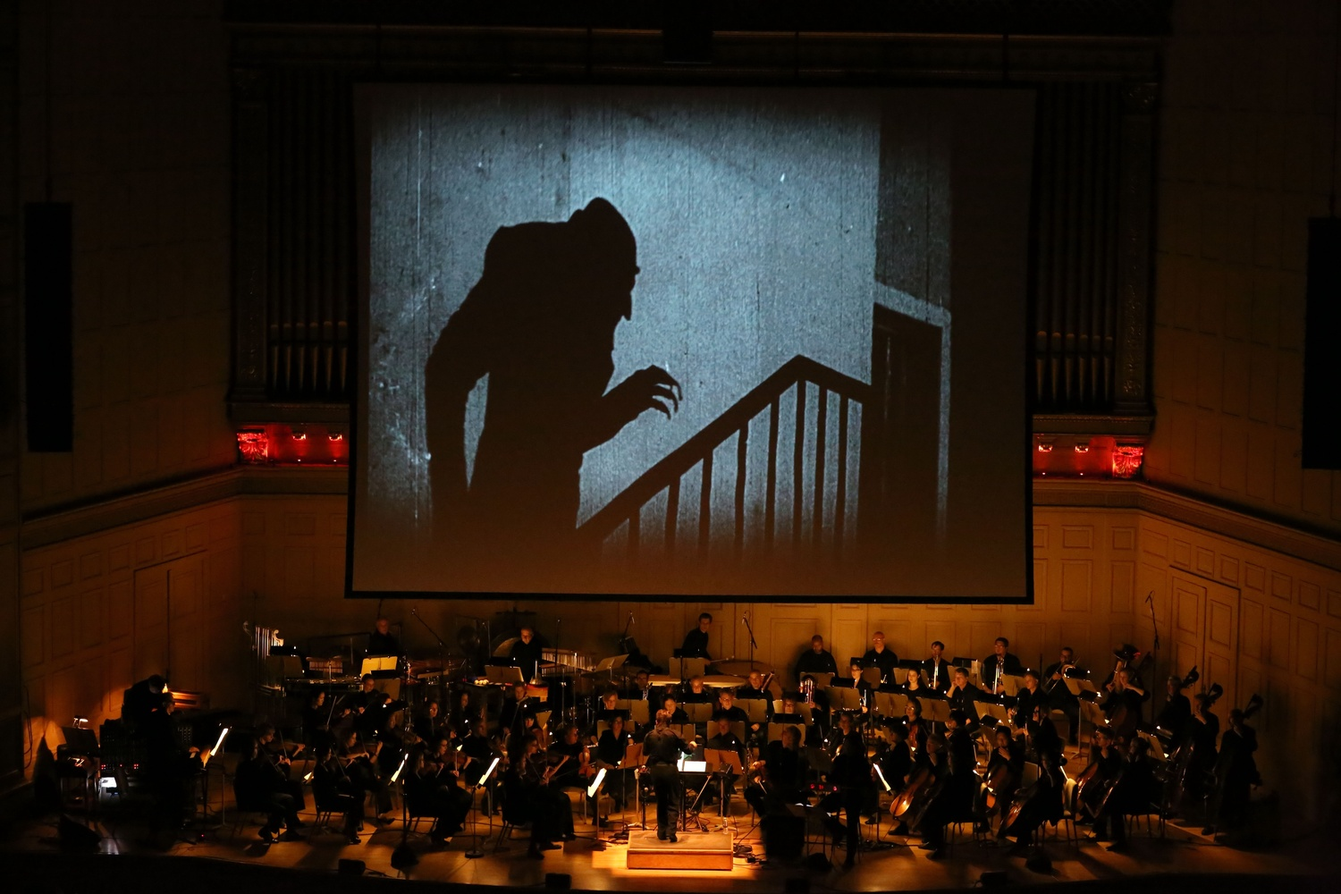 """The Boston Pops Esplanade Orchestra and Berklee College of Music performed a live score along with a screening of """"Nosferatu: A Symphony of Horror"""" on Friday evening."""