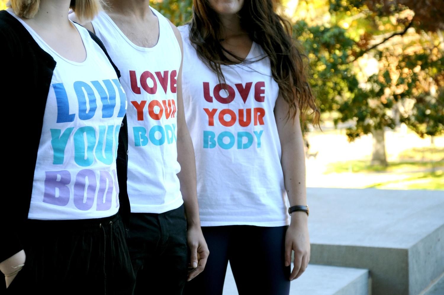 """The peer-counseling group ECHO sold """"Love Your Body"""" bro tanks on """"Love Your Body"""" day last semester."""