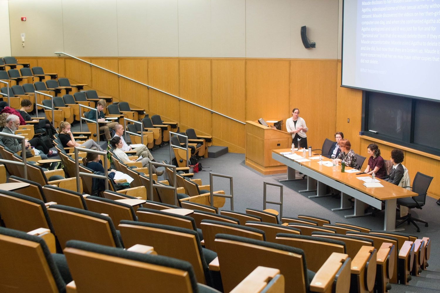 Roughly a dozen people attended an informational panel about the Office of Sexual Assault Prevention and Response, Title IX, the Office of Dispute Resolution, and the Administrative Board in Tsai Auditorium on Tuesday evening.