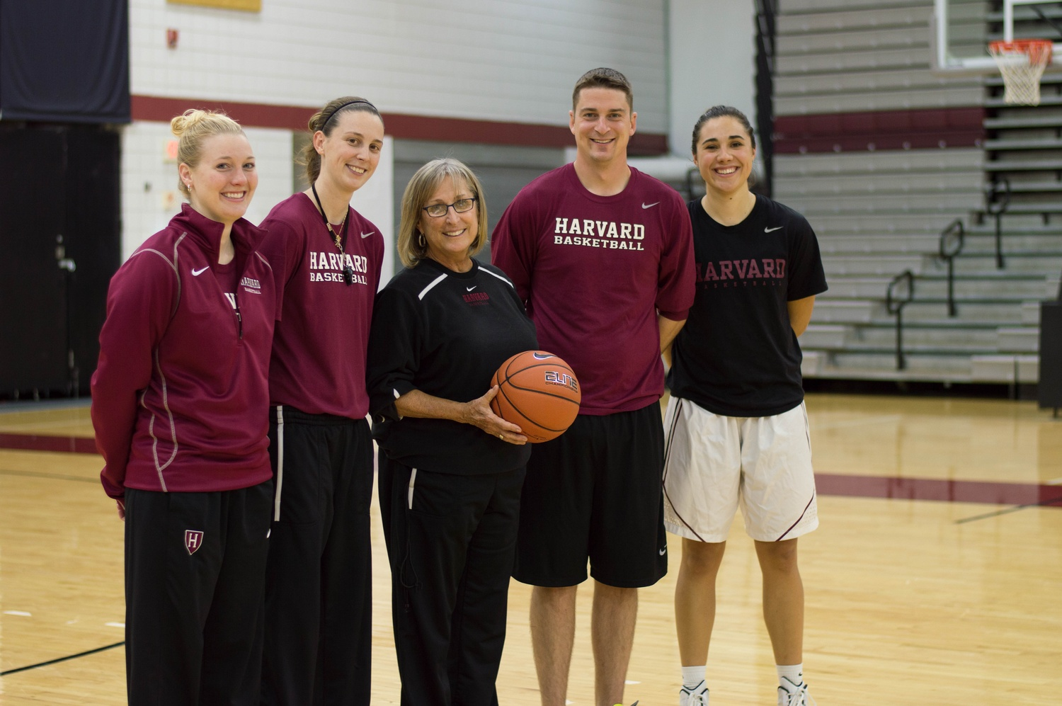 Harvard women's basketball head coach Kathy Delaney-Smith, pictured with her assistant coaches in 2015.