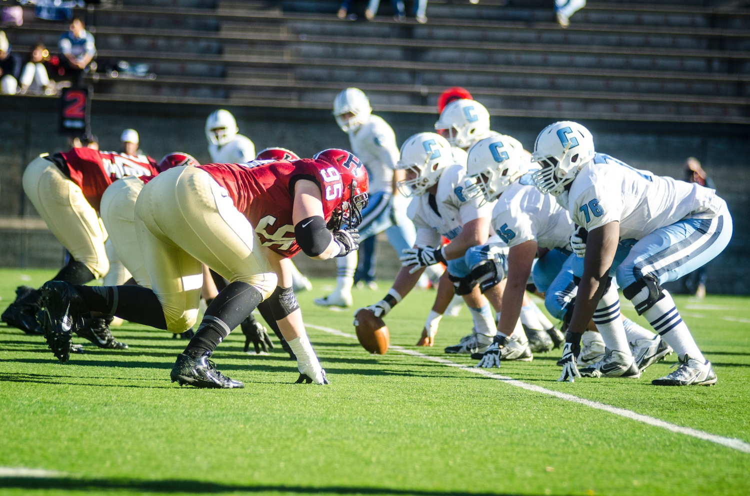 Harvard and Columbia, pictured in action at Harvard Stadium last season, will square off in New York City on Saturday.