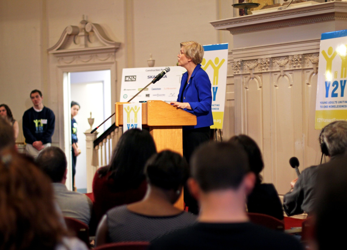 """U.S. Senator Elizabeth Warren spoke at the opening celebration for Y2Y Harvard Square, the youth homeless shelter that will be opening in December. """"All young people have a right to live safely and with dignity,"""" Senator Warren said. """"Y2Y Harvard Square will play an important role as a safe place and resource for youth in our community who need a chance to get back on their feet."""""""