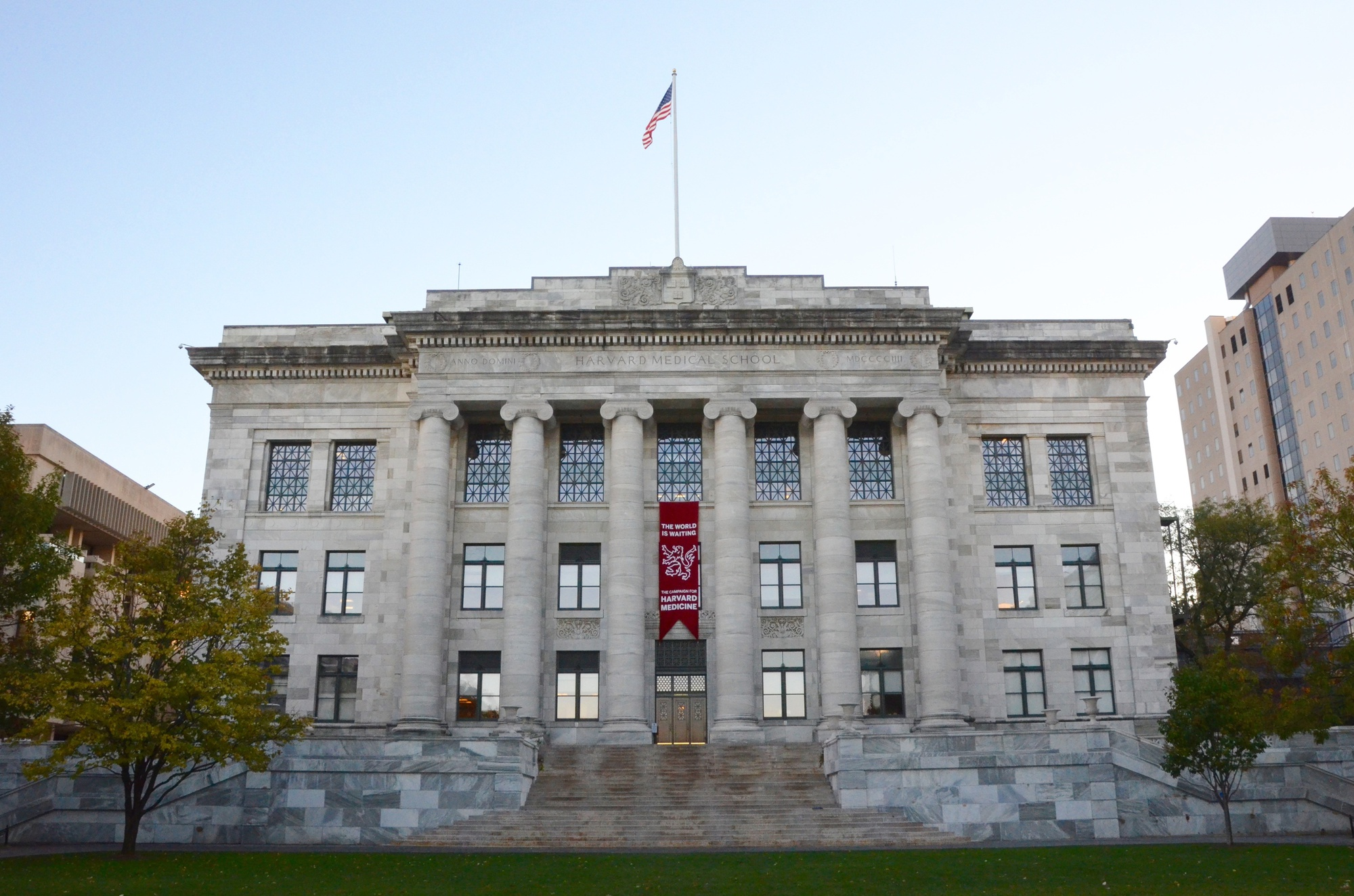 "Harvard Medical School, pictured here in October, launched its capital campaign, ""The World Is Waiting: The Campaign for Harvard Medicine"" in the fall of 2013. The medical school has raised $467 million as of October."