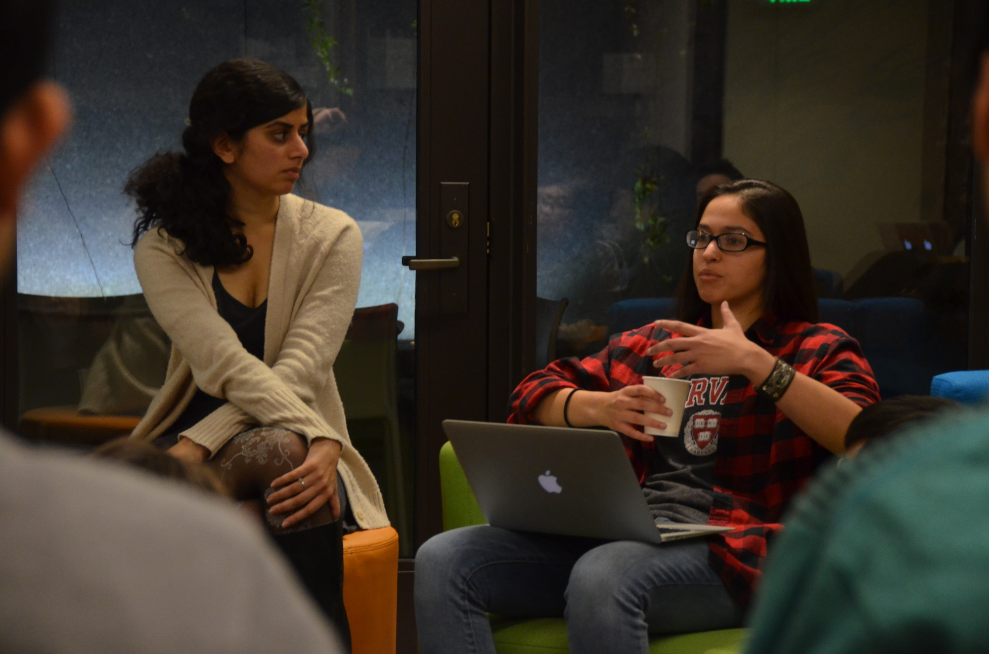 Avni Nahar '18, left, and Jess Erion '19, interns at the Harvard Foundation, moderate a discussion on affirmative action and race-based admissions Monday.