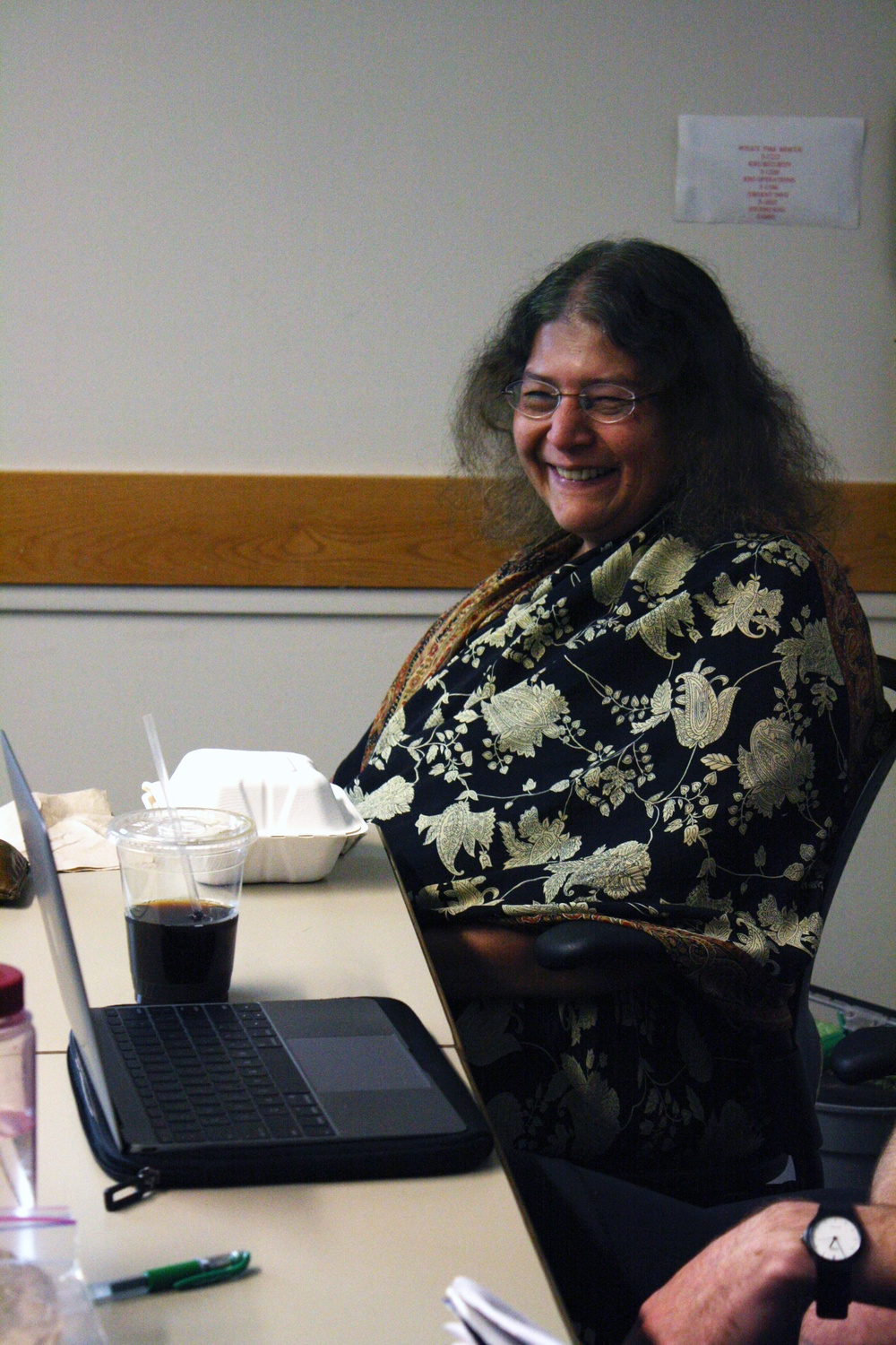 Professor Sheila Jasanoff '64 leads a weekly meeting about Science, Technology, and Society on Tuesday, Nov. 17, 2015.
