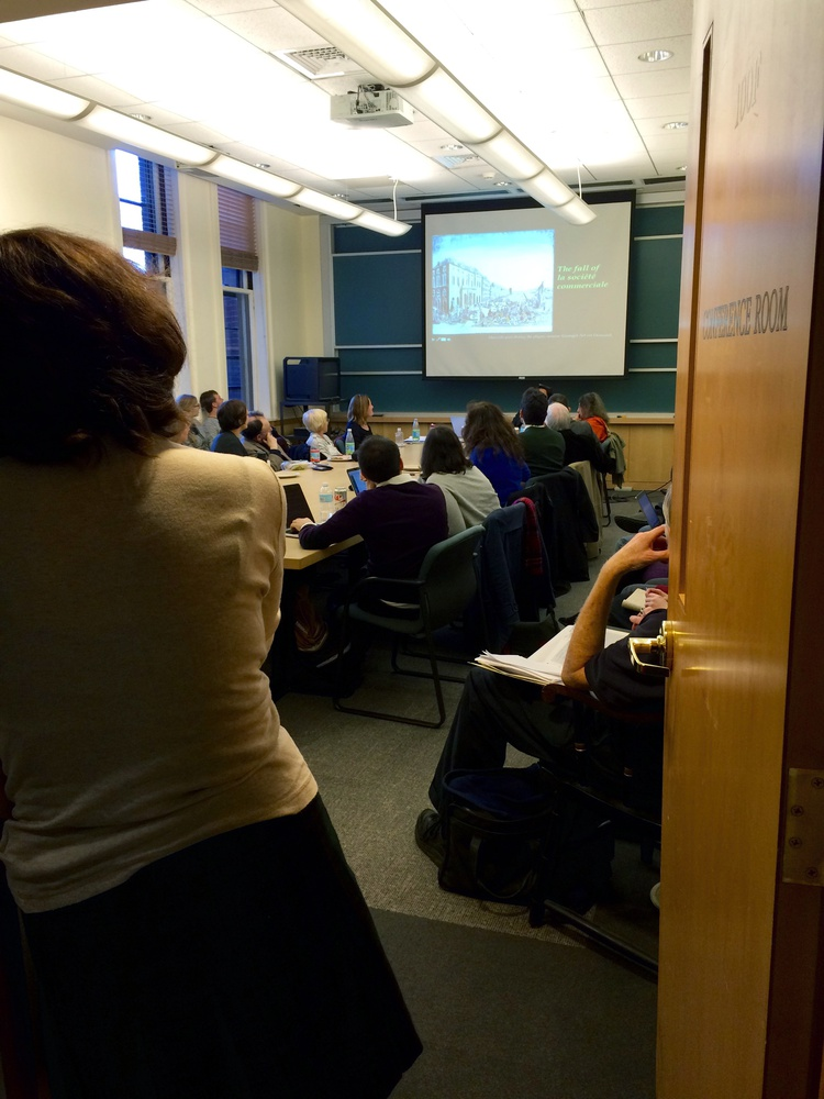 Students and faculty attend a talk about disease in Marseille, France at a weekly meeting about Science, Technology, and Society on Monday, Nov. 16.