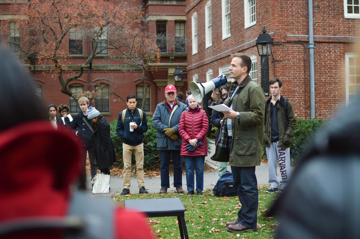 'I certainly care about this issue,' said resident dean of Mather House Luke Leafgren at a 2015 protest against sexual assault. He continued, 'and I do see many other administrators...who feel as strongly as I do about the need to make this campus safer.'