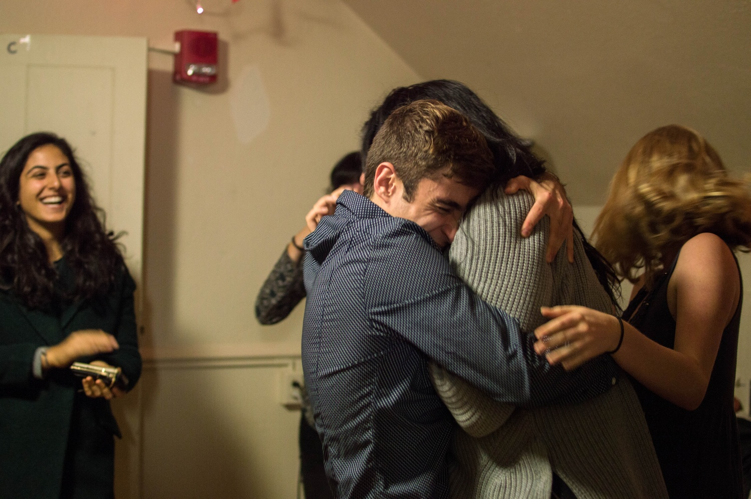 Shaiba Rather '17 and Daniel V. Banks '17 embrace upon winning the election for Undergraduate Council President and Vice President.  Coming in second place were William A. Greenlaw and William F. Morris IV '17, followed by a third place showing of Nick E. Gajdzik '16-17 and Jeffrey M. Ott '16-17.