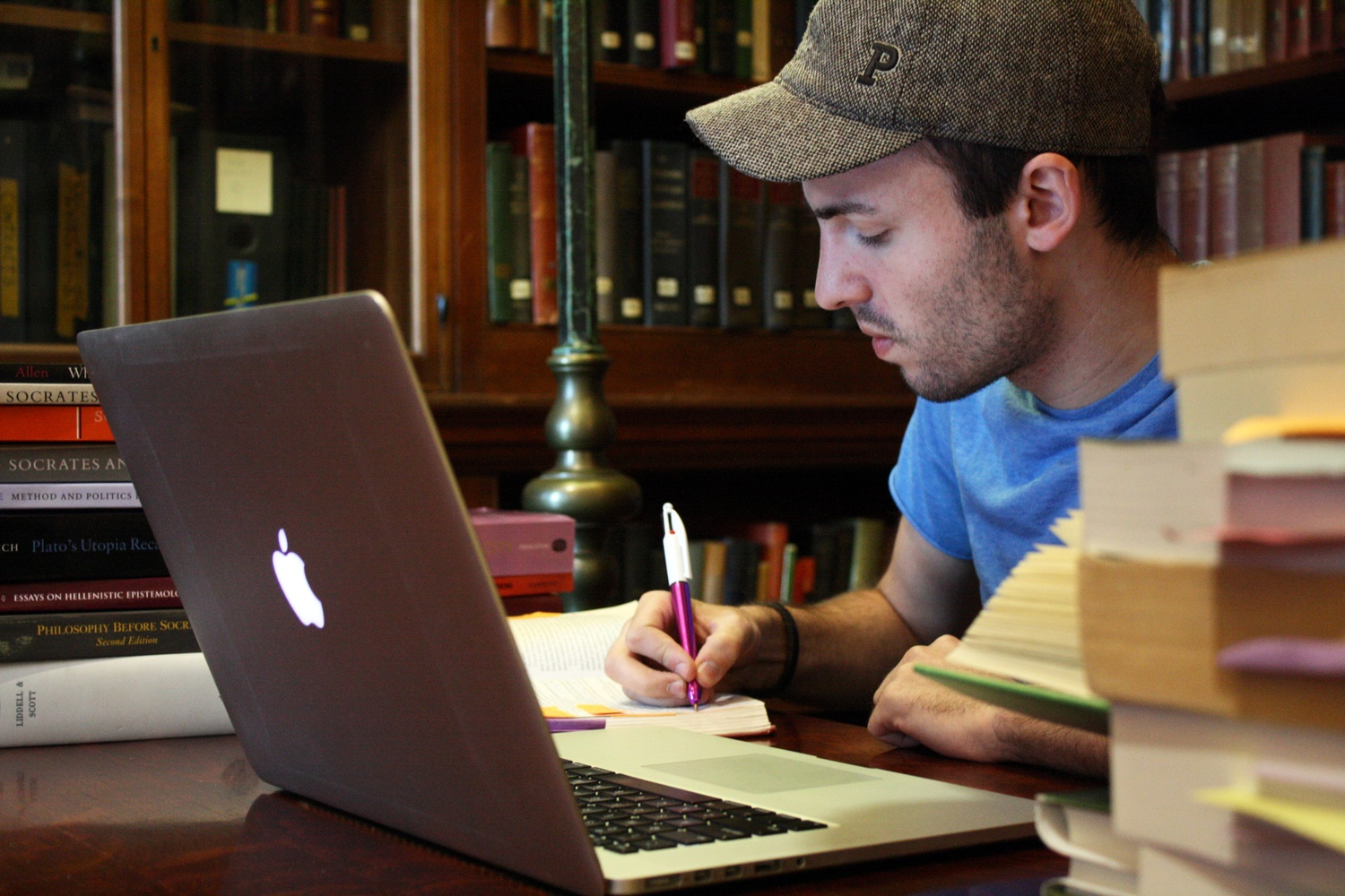 Joshua Blecher-Cohen '16, a Classics and Philosophy joint concentrator, studies in the Adams House Library.