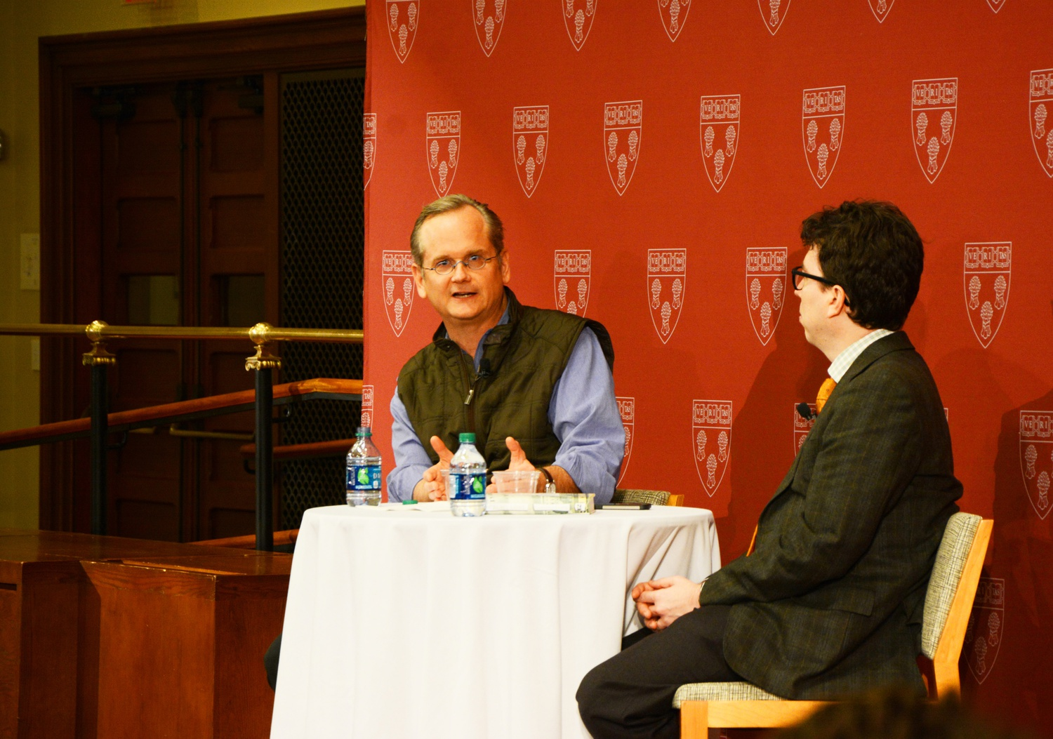 Law School professor Lawrence Lessig, left, and Law professor Jonathan Zittrain discuss what Lessig learned from his presidential candidacy at Harvard Law School in 2015.