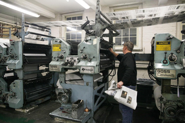 The printing presses in the basement of The Harvard Crimson newspaper at 14 Plympton Street.