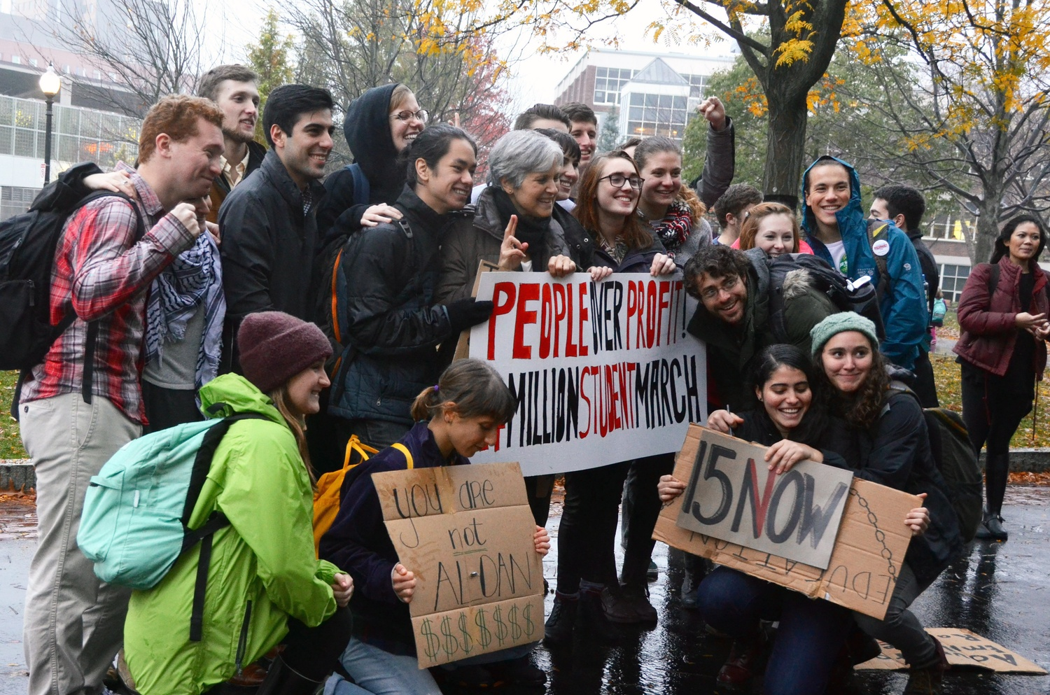 Presumptive Green Party presidential candidate Jill Stein '73 poses for a photo with students at Northeastern's Million Student March in October.