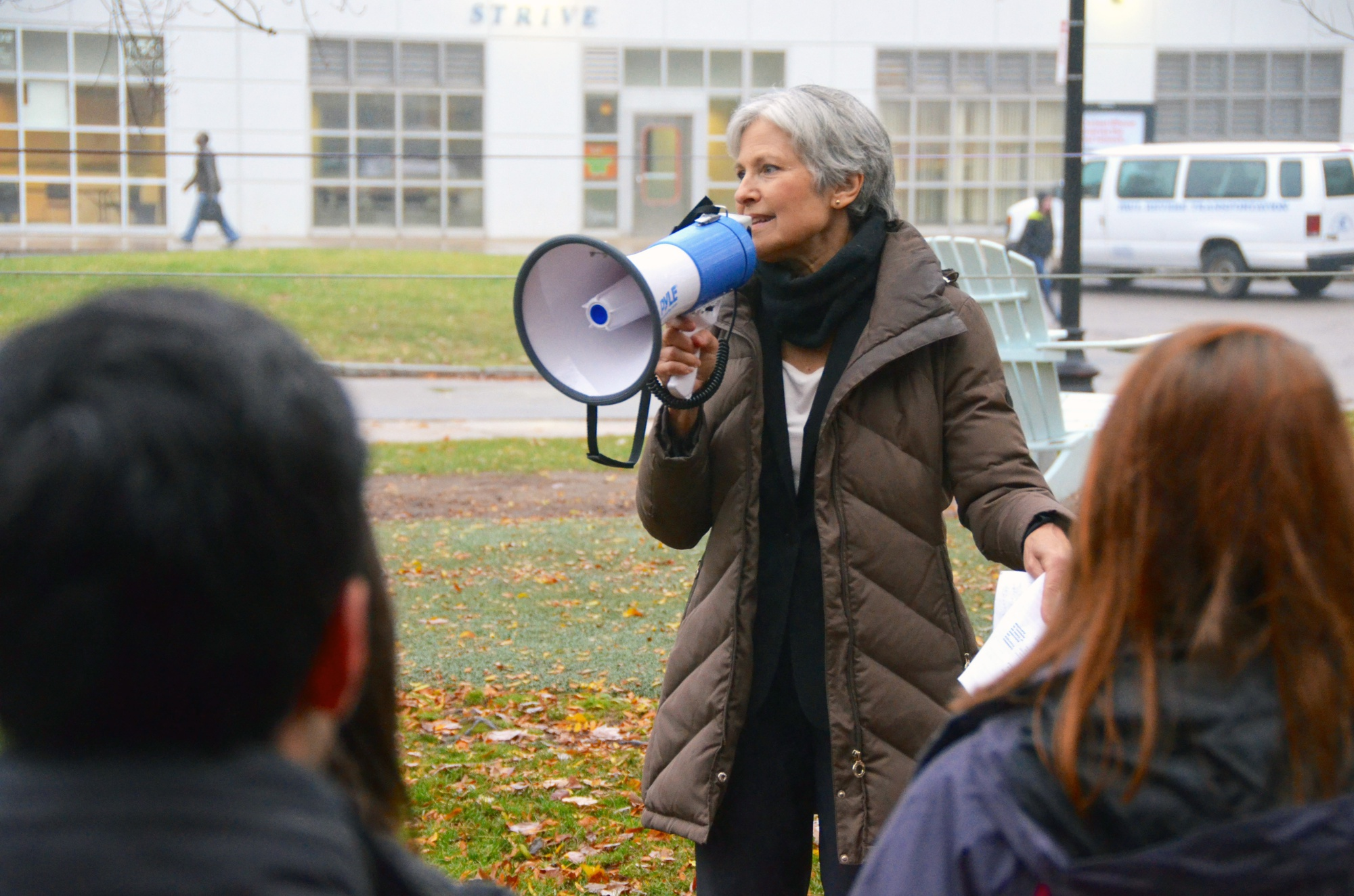 Presumptive Green Party presidential candidate Jill Stein '73 speaks at Northeastern's Million Student March in October.