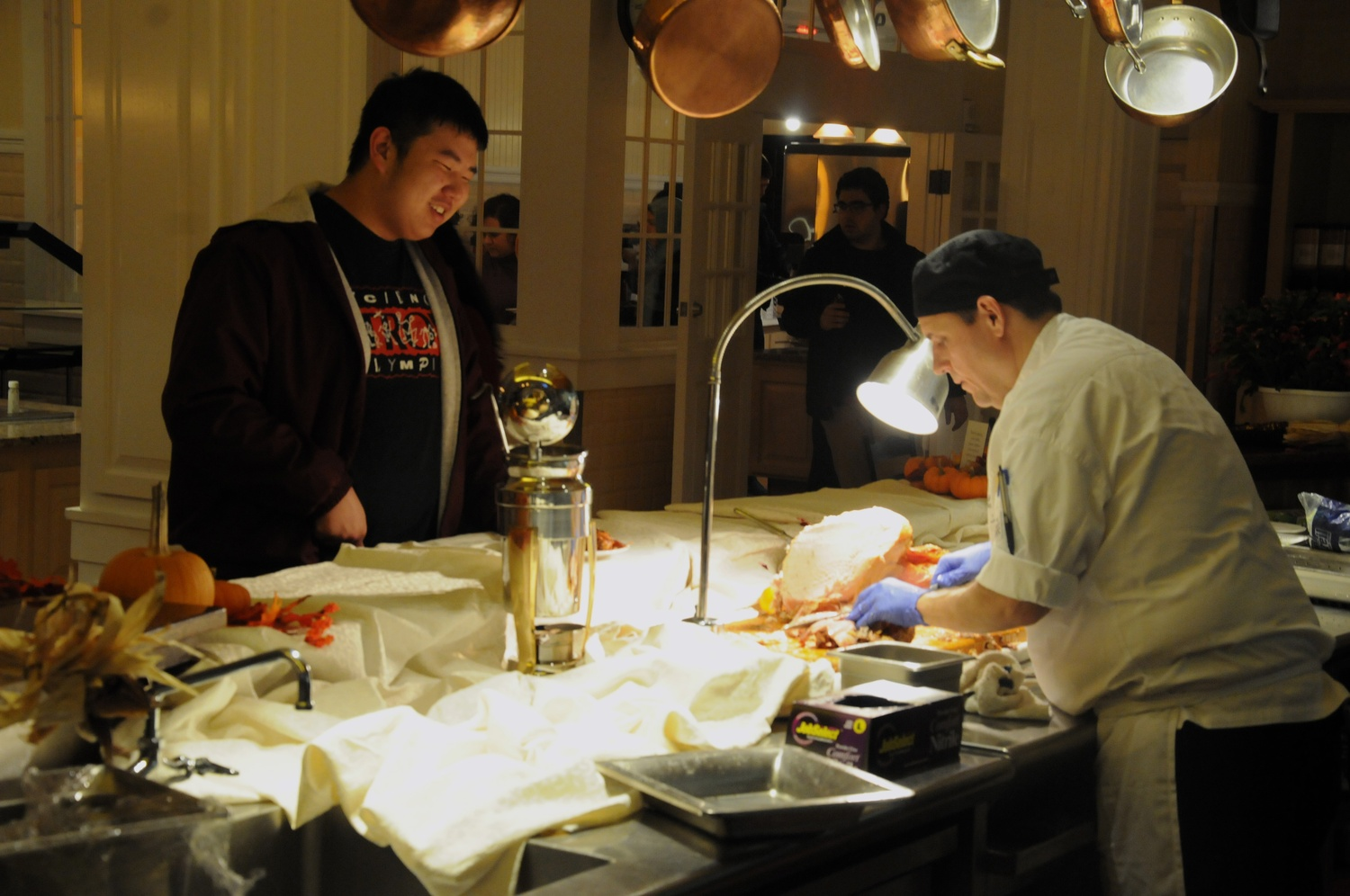 Students were able to request specific parts of the turkey being served for Thanksgiving dinner in Dunster House.