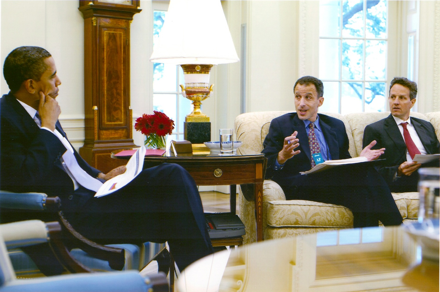 Jeremy C. Stein, pictured here in a previous meeting with President Barack Obama at the White House in 2009, is a current professor in the Economics Department.  Stein was an advisor in the U.S. Treasury Department after the 2008 financial crisis.