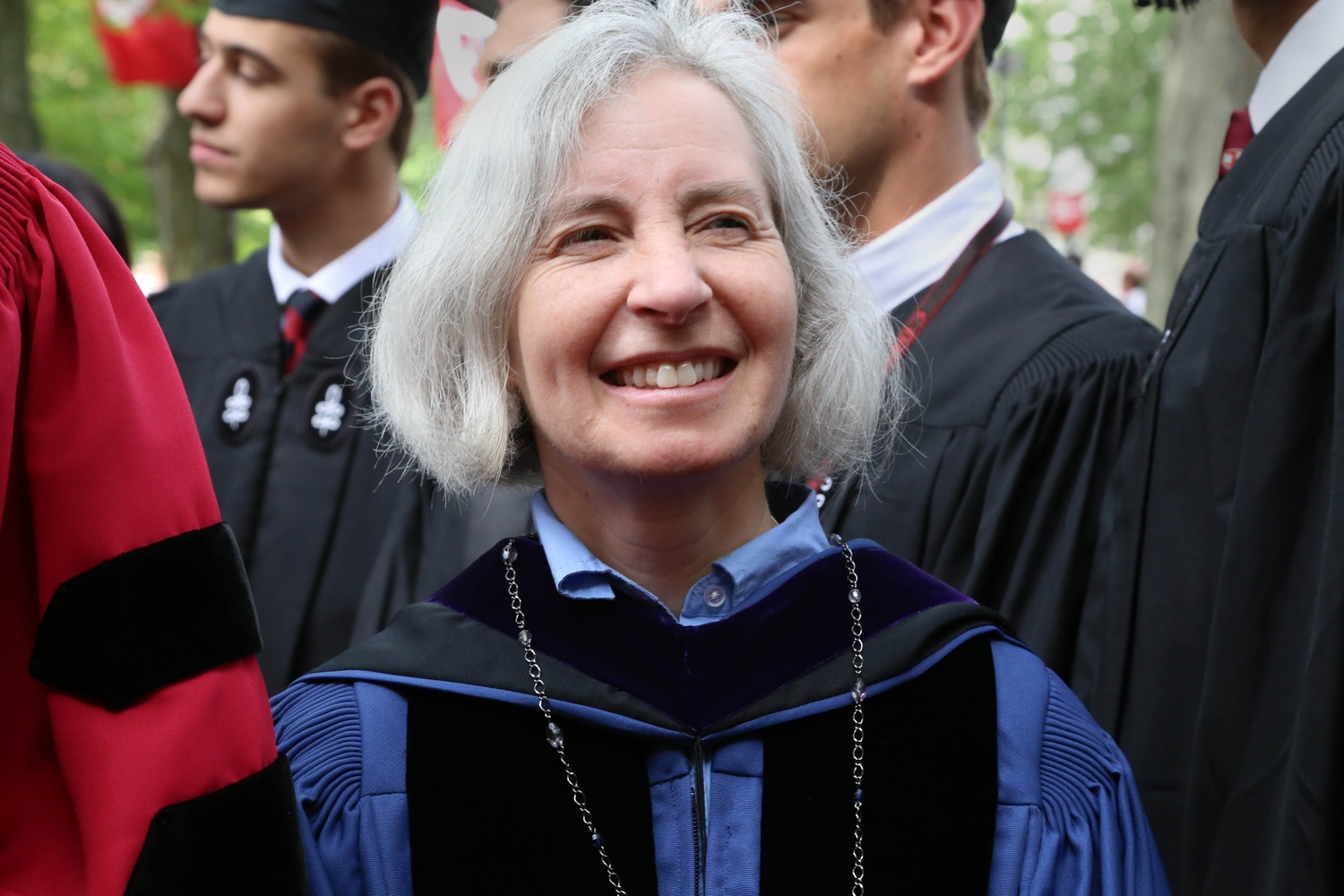 Harvard Law School Dean Martha L. Minow processes with other faculty during Harvard's 364th Commencement on May 28, 2015.