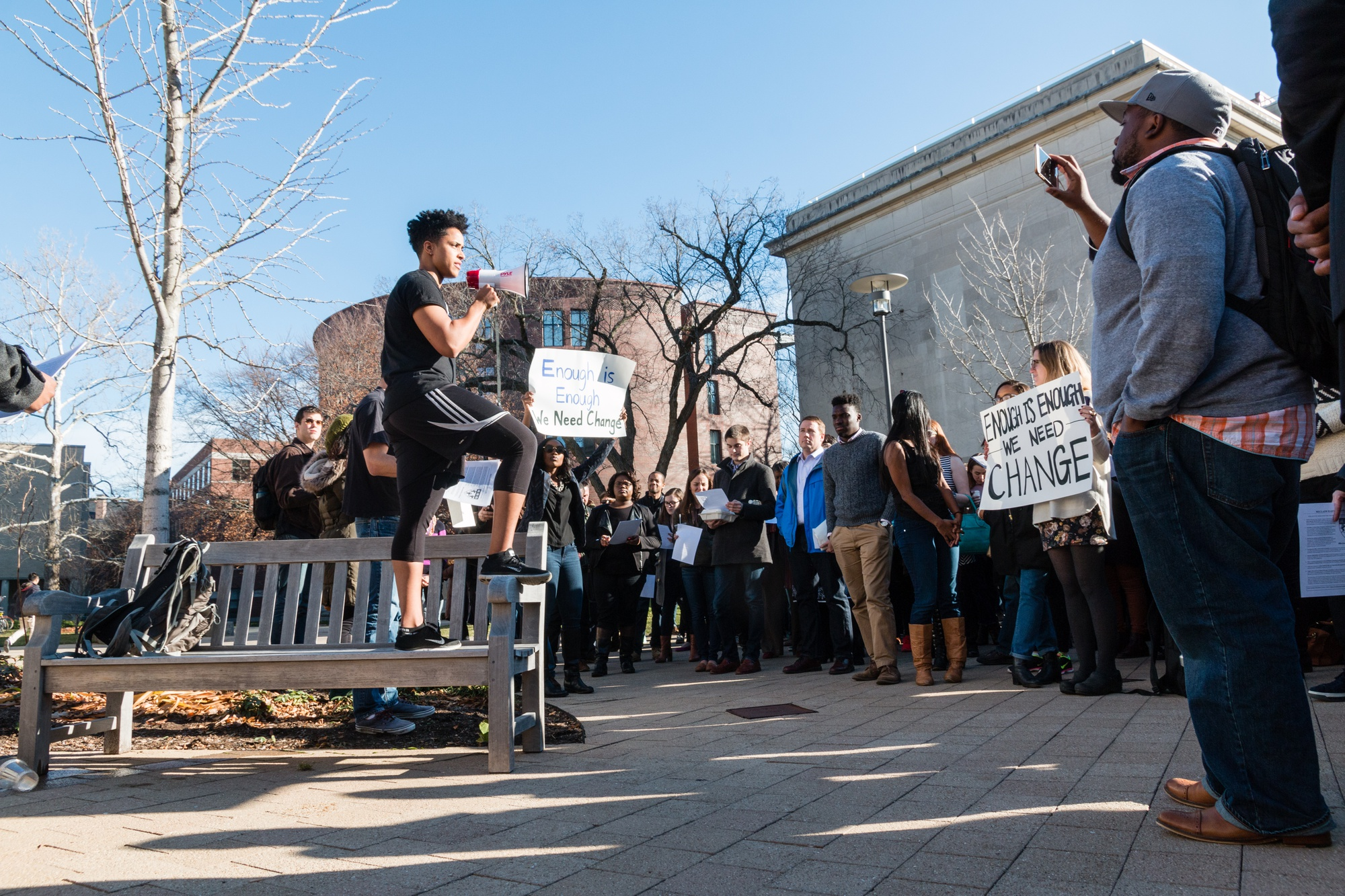 Harvard Law School student activists held a solidarity rally at Kumble Plaza on Monday afternoon. Law School Dean Martha L. Minow has yet to publicize a plan to implement student demands brought up during a community meeting last Friday.