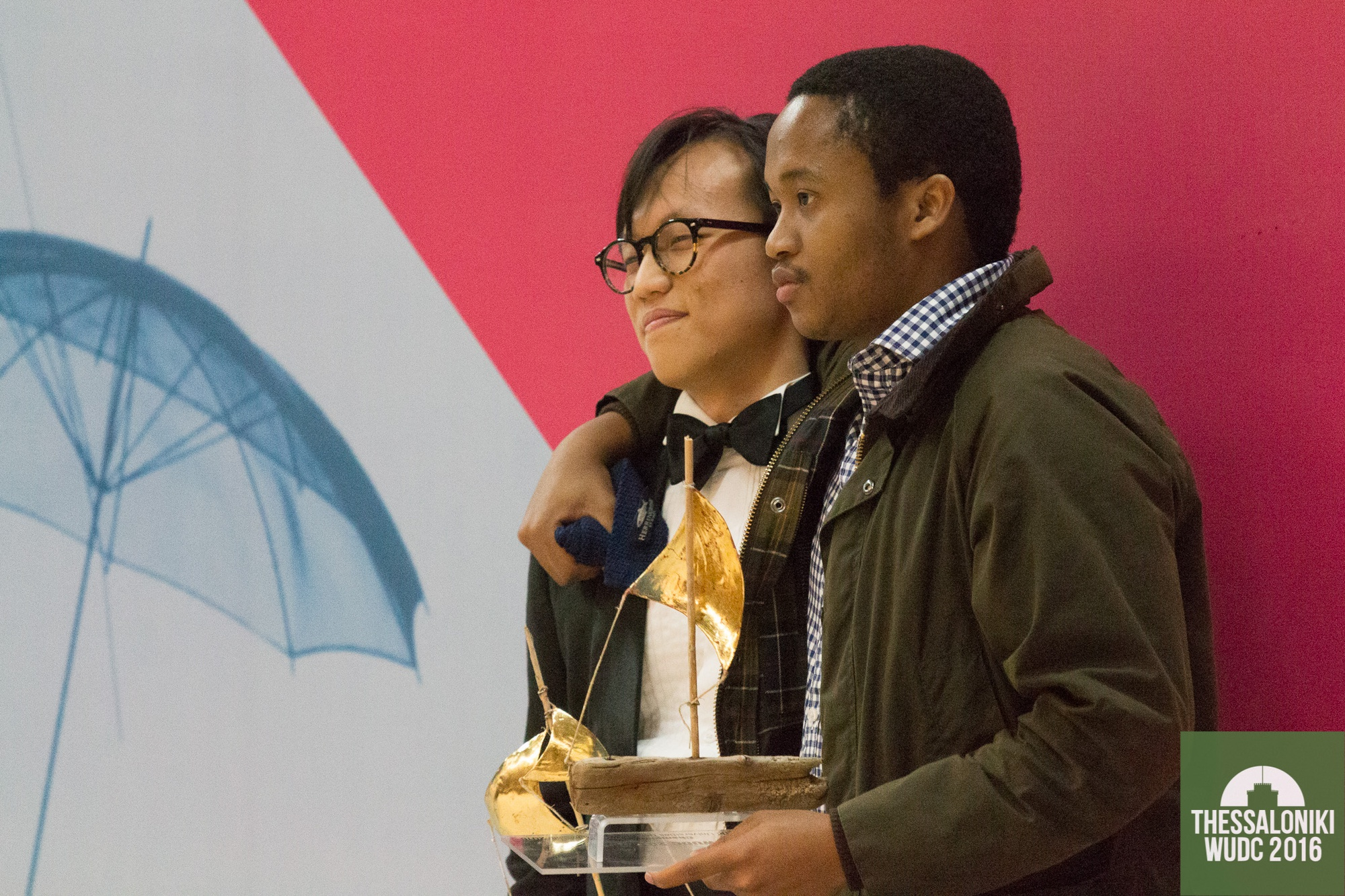 Fanelesibonge S. Mashwama '17 and Bo Seo '17 were victorious in the 2016 World Universities Debating Championship, becoming the second Harvard team to earn the title in three years. Image courtesy of Manuel J. Adams © Thessaloniki WUDC 2016.