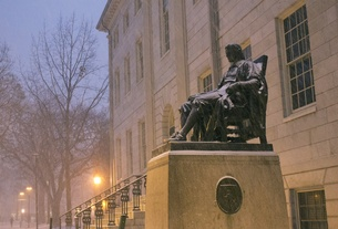 John Harvard Statue in the Snow