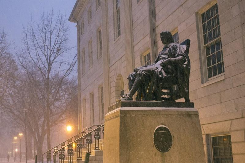John Harvard Statue in the Snow
