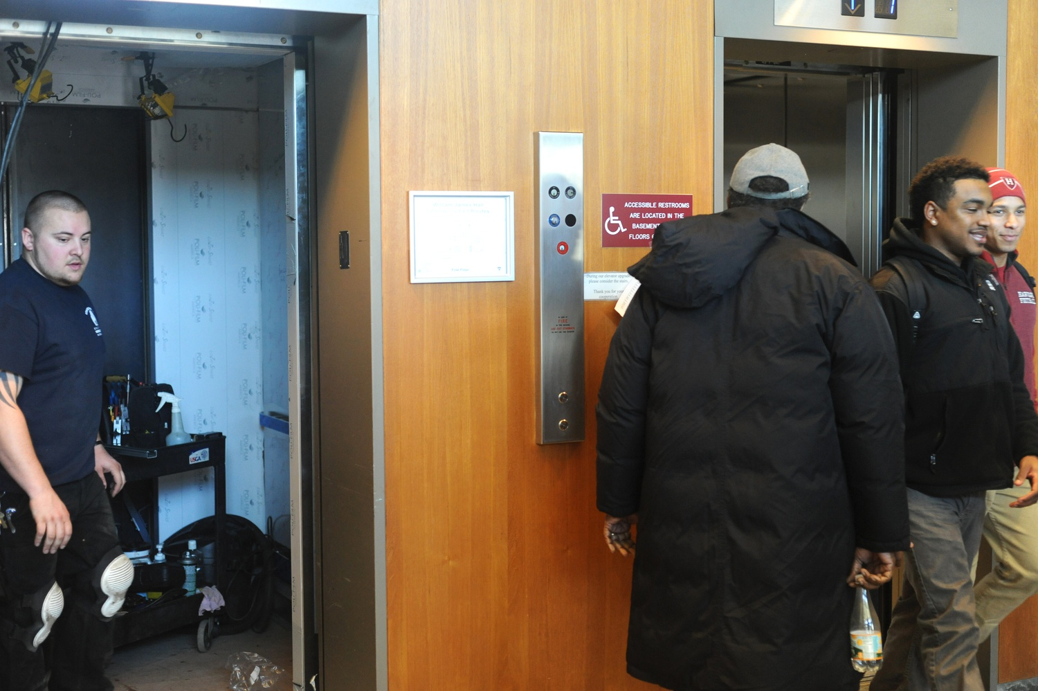 The elevator arrives on the first floor of William James Hall Monday afternoon. William James Hall was left with only two working elevators as the middle one was undergoing maintenance. All three will be operational in May.