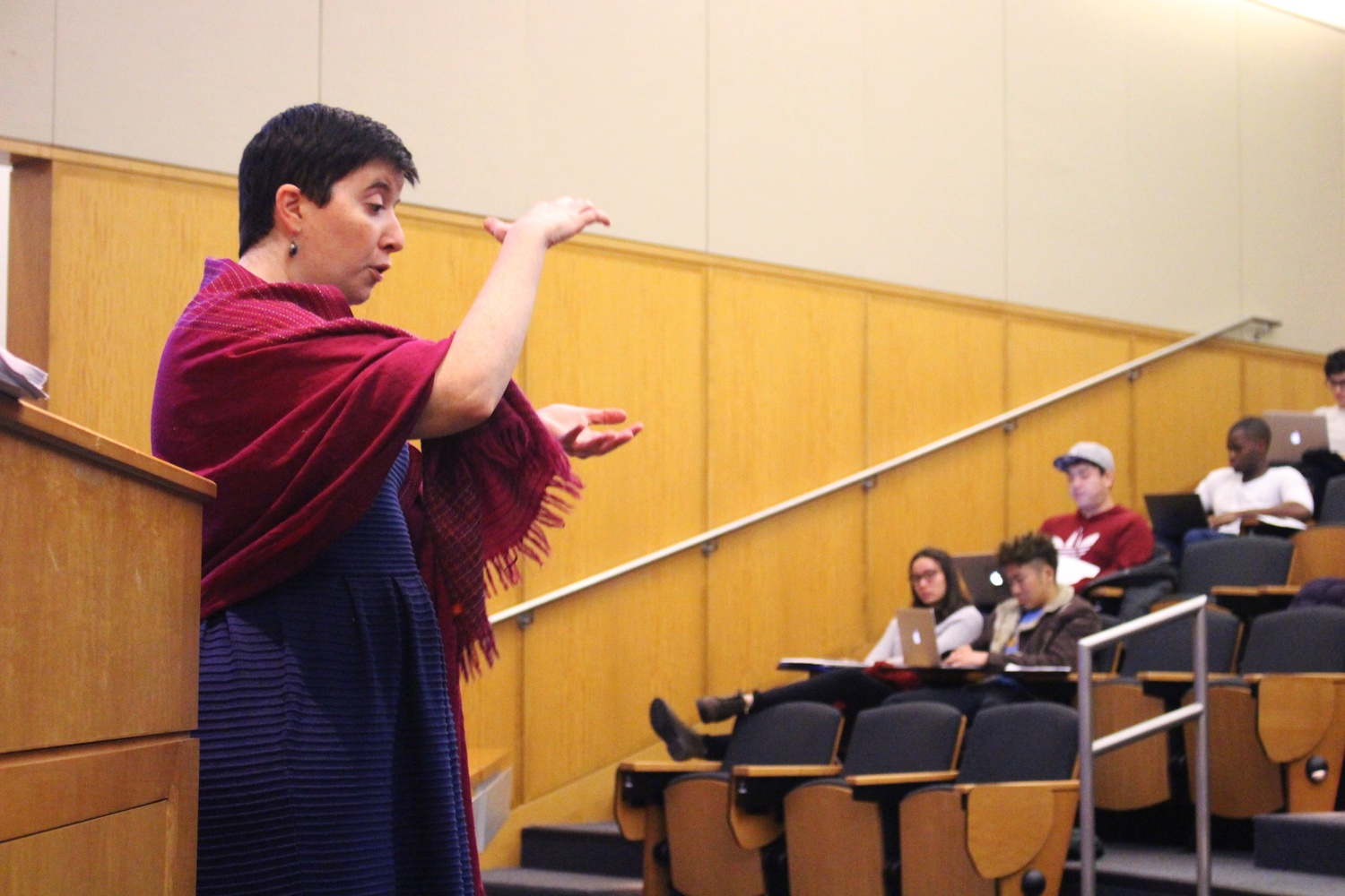 """Professor Carla D. Martin gives the opening lecture for her class """"Chocolate, Culture, and the Politics of Food"""" on Wednesday. Martin discussed the history of chocolate's popularity as well as the industry's use of child labor."""