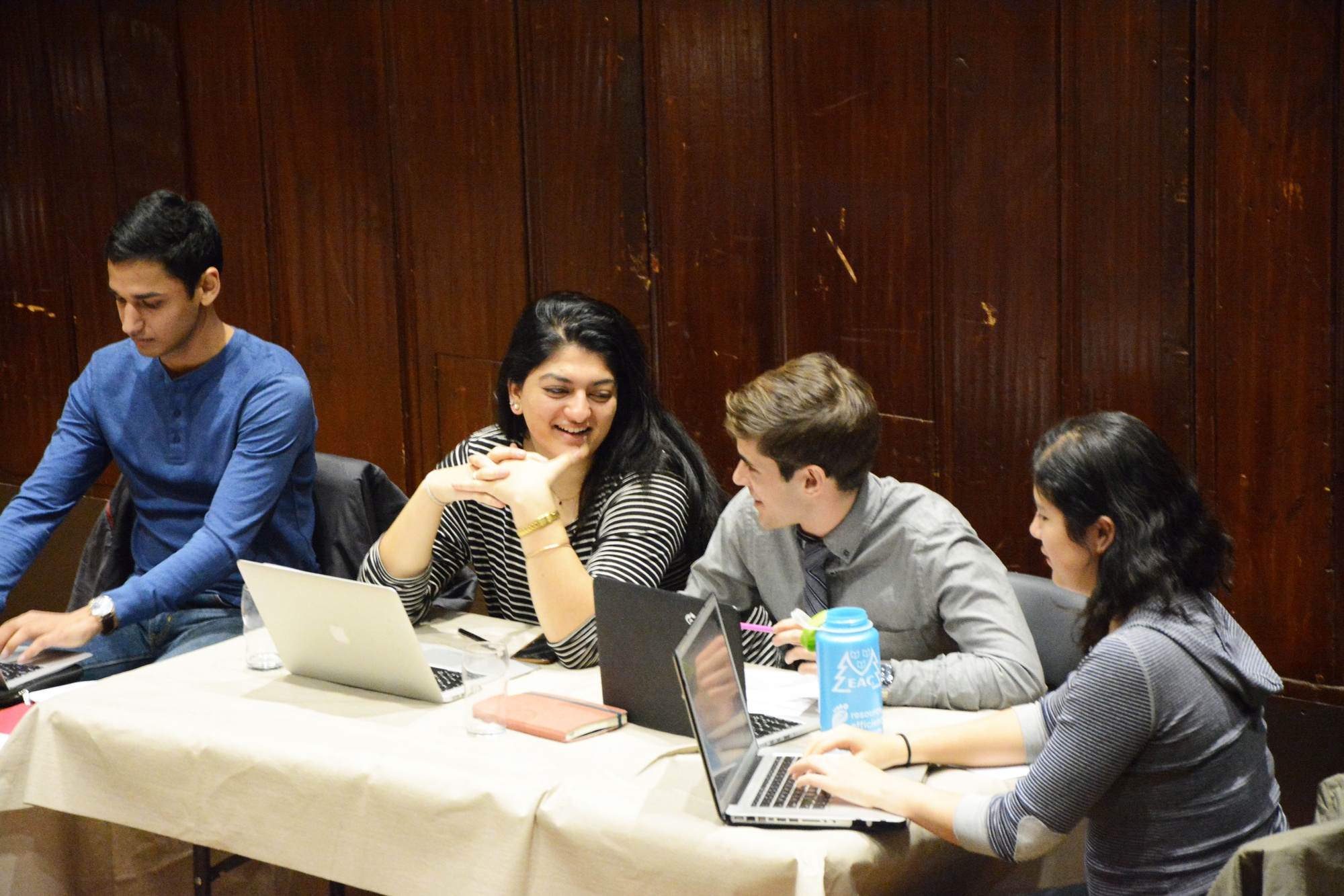 UC President and Vice President Shaiba Rather '17 and Danny Banks '17 preside over Sunday night's Undergraduate Council Meeting.