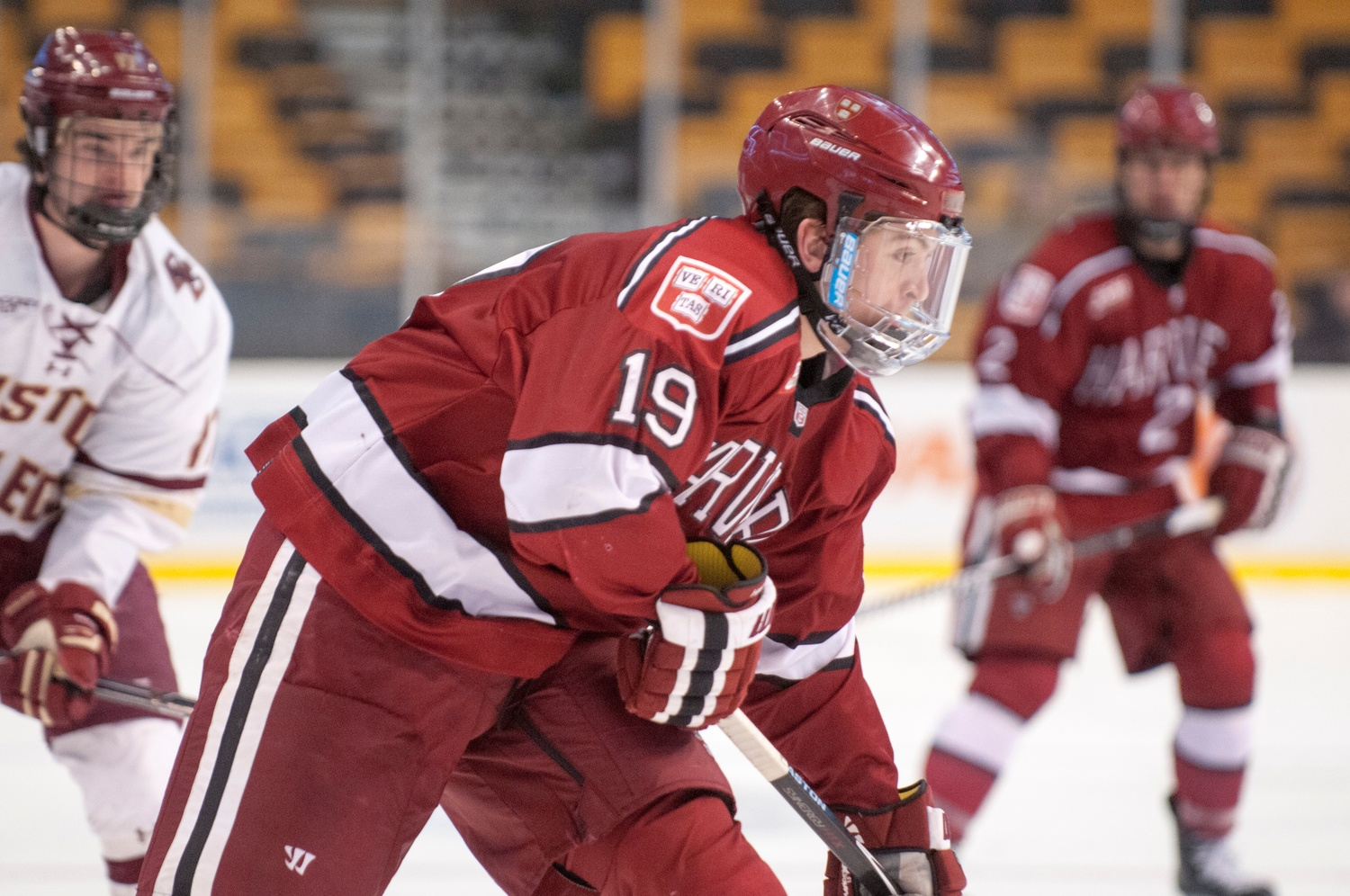 Co-captain Jimmy Vesey, shown in action against BC last year, will look to advance to his first Beanpot championship game on Monday.
