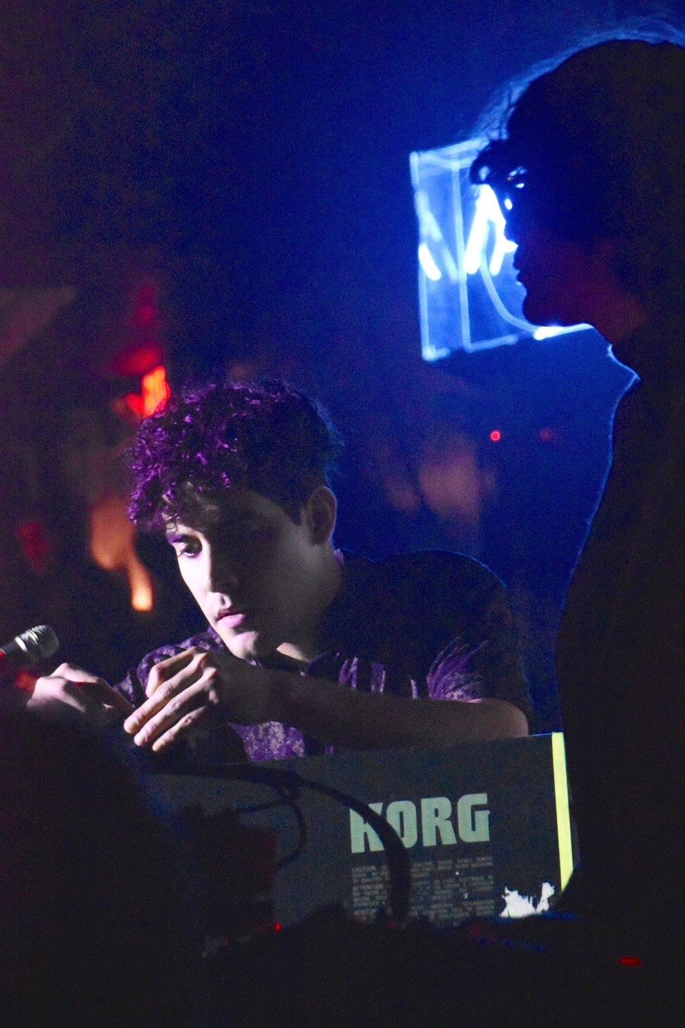 Alan Palomo, songwriter of Neon Indian, performs with the rest of the band at the Paradise Rock Club last Thursday evening.