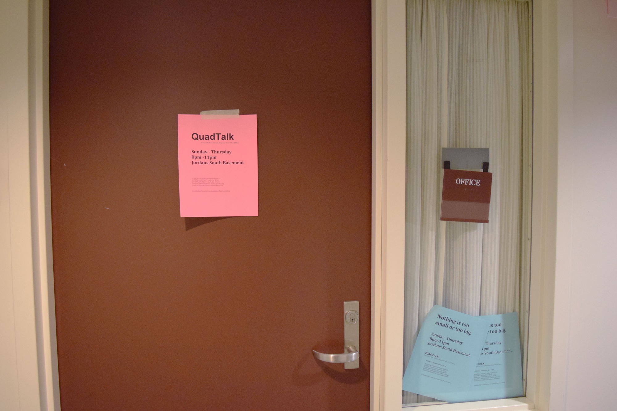 """A sign hangs over the door of an office in Pforzheimer House designated as a new shared space between the various peer counseling groups on campus. """"Quad Talks"""" will be held Sunday through Thursday evenings and hosted by a different group every night in an effort to grant easier access to peer counseling groups to students housed in the Quad."""