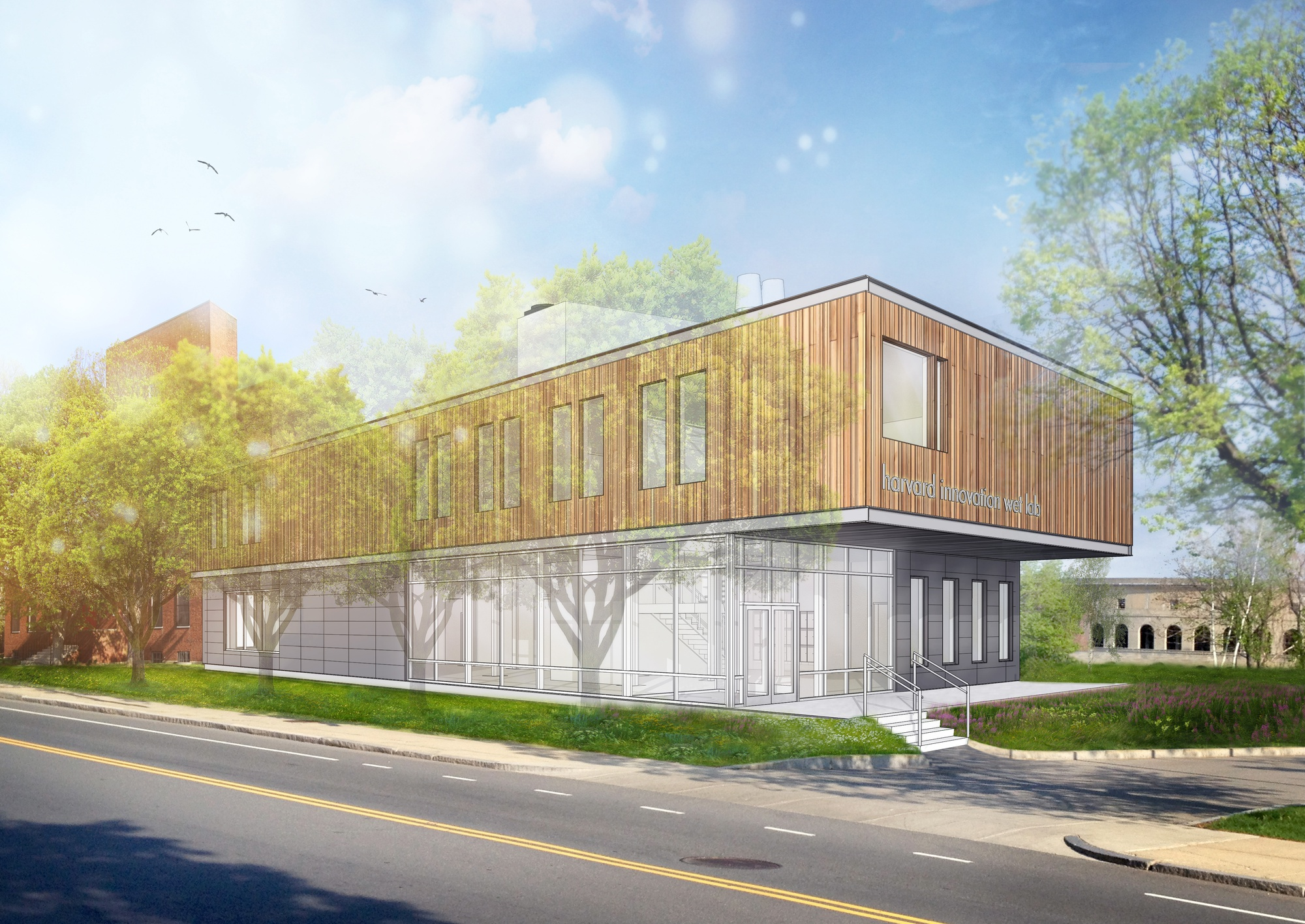 Artist rendering of the future Harvard Innovation Wet Lab Building, a new co-working lab environment, set to open in August 2016 after approval for construction by the City of Boston.