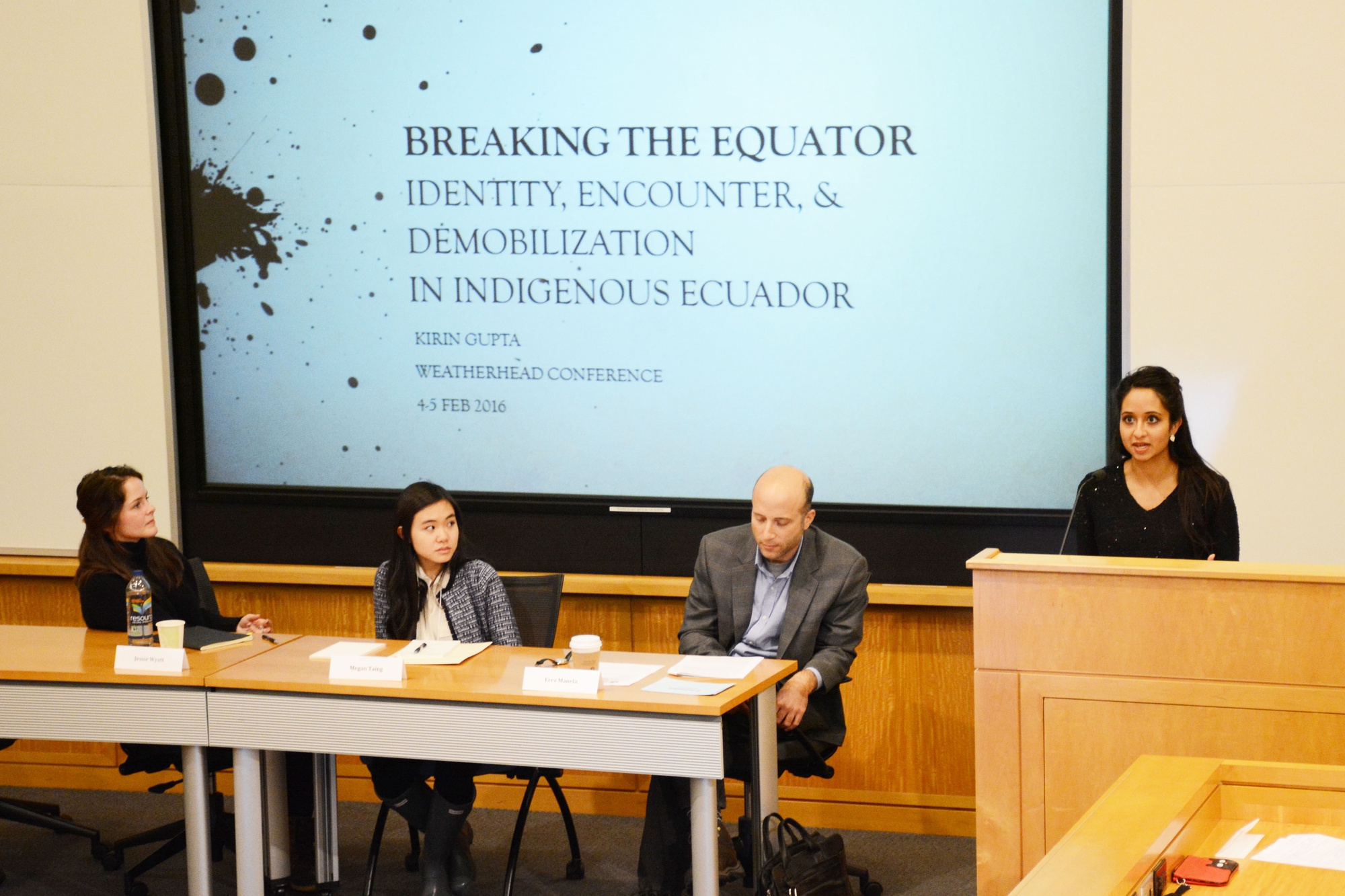 Kirin Gupta '16, a senior in Winthrop House, discusses her thesis on the gendered treatment of indigenous groups in Ecuador with Jessie M. Wyatt '16, Megan H. Taing '16, and chair Erez Manela. This panel took place at The Weatherhead Center for International Affairs' Undergraduate Associate Thesis Conference on Friday.