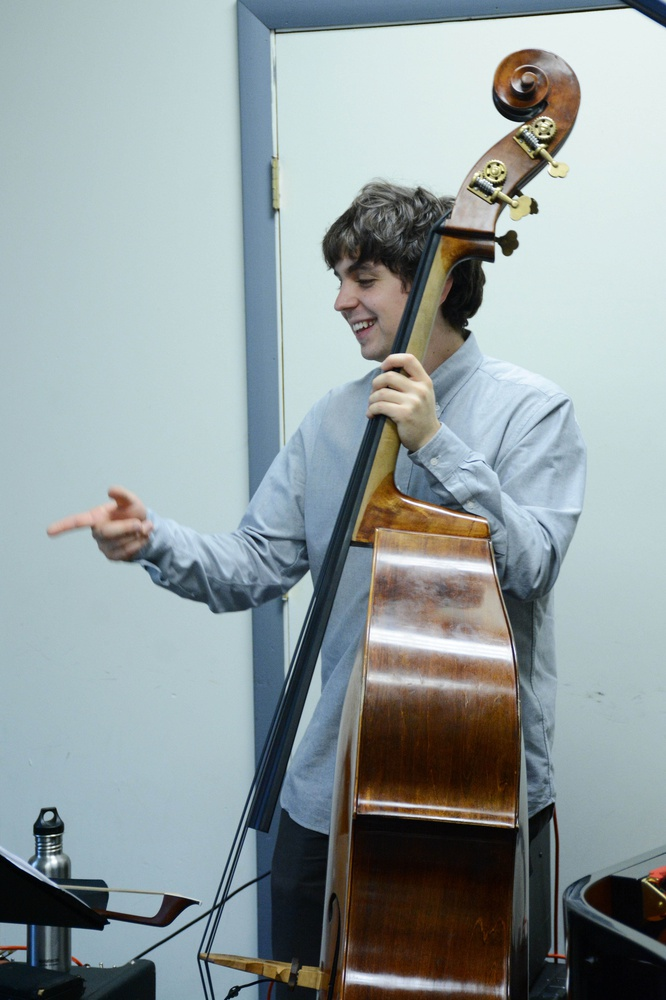 Bassist Simón Willson rehearses with Great on Paper at the New England Conservatory of Music on Tuesday, February 2.