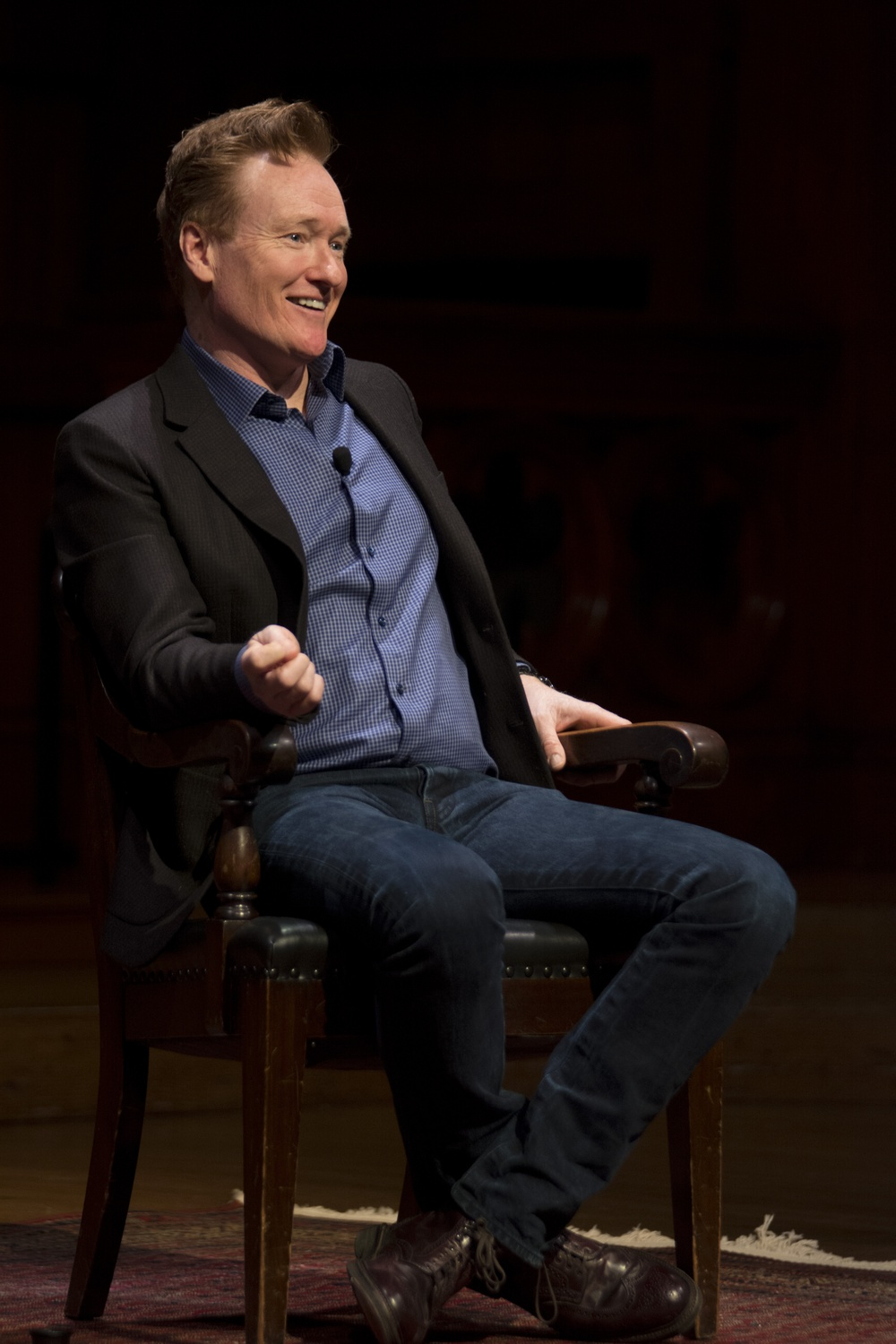 Conan O'Brien '85 spoke with University President Drew G. Faust on Friday in Sanders Theatre, discussing the value of a liberal arts education and his experiences at Harvard.