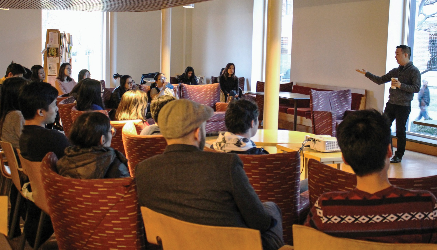 Professor Terry K. Park, a Visiting Lecturer of Asian American Studies at Wellesley College, talks about the importance of Asian and Pacific American Studies and its relevance to current political and social concerns on Friday afternoon in Ticknor Lounge.