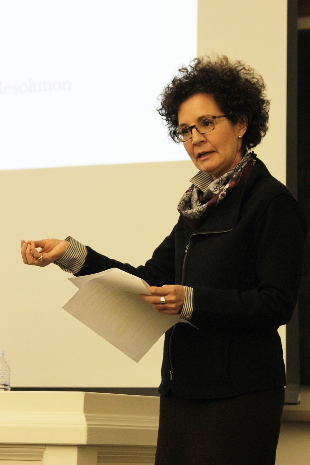Title IX Officer Mia Karvonides explains Harvard University policy concerning unwelcome sexual contact at a town hall hosted by the UC. Karvonides later answered questions from students and undergraduate council members.