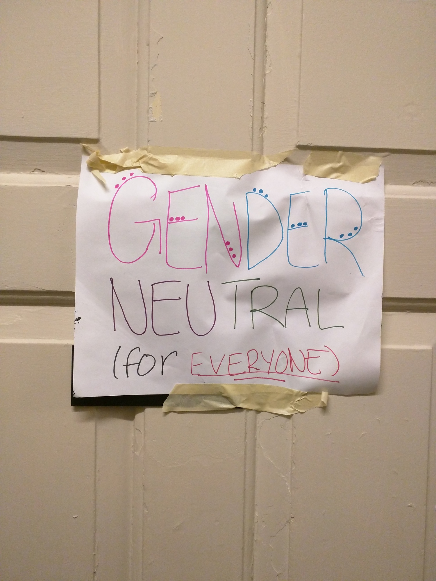 In March, Eliot House residents discovered that the sign on the gender-neutral bathroom near their dining hall had been taken down. Someone had taped up a colored version of the original sign by the end of the day.