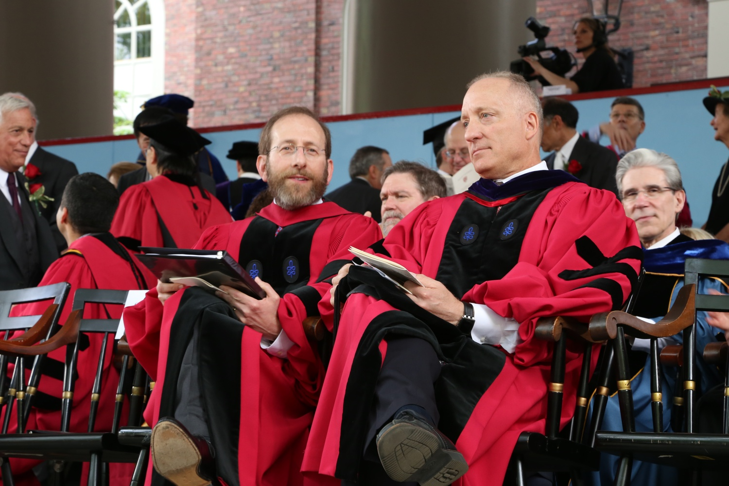 FAS Dean Michael D. Smith and Provost Alan M. Garber '76, pictured at Commencement in 2016.