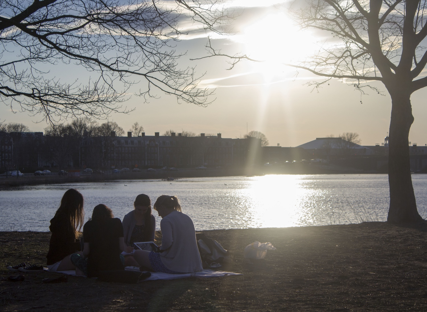 Students enjoy an evening of nice weather by the Charles River