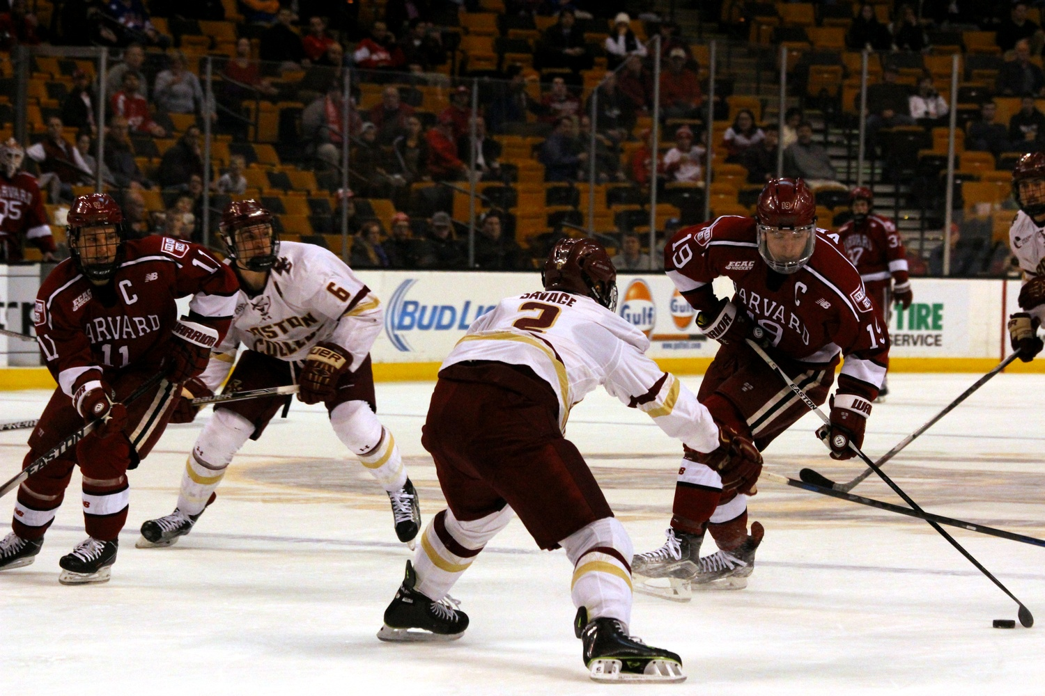 Co-captains Jimmy Vesey (19) and Kyle Criscuolo (11), shown in action against BC during this year's Beanpot, will look to notch their first career NCAA tournament win Friday night against the Eagles.