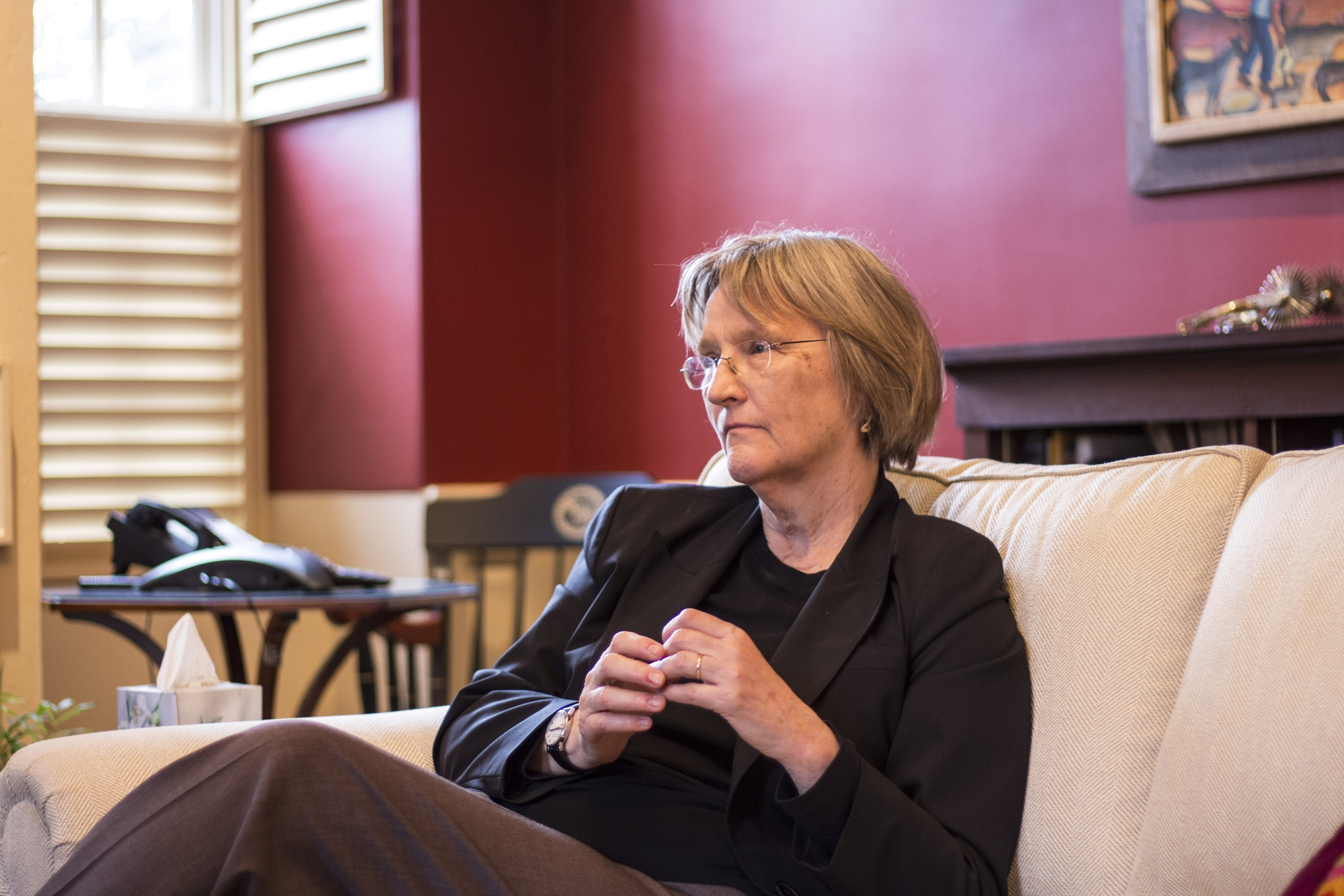 University President Drew G. Faust discussed a letter she wrote to Congress about Harvard's $37.6 billion endowment in a recent interview in Massachusetts Hall.