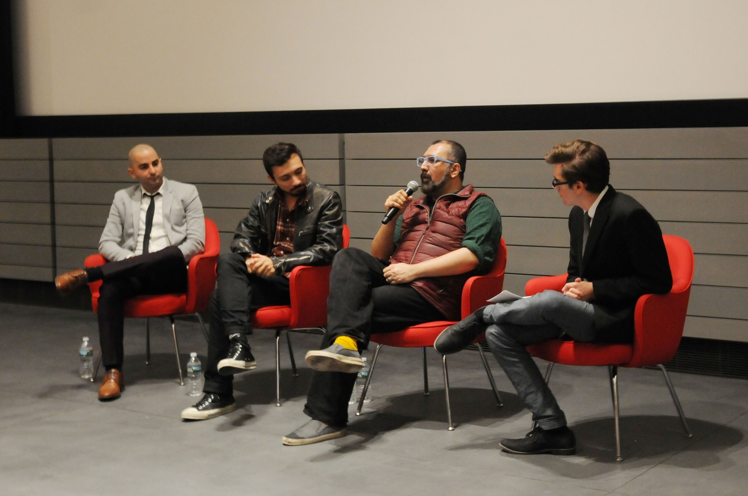 "(from left) Sev Ohanian, David Karlak, and Parvez Sharma participate in ""Industry Panel: New Media"" in Menschel Hall at Harvard Art Museums on Saturday afternoon."